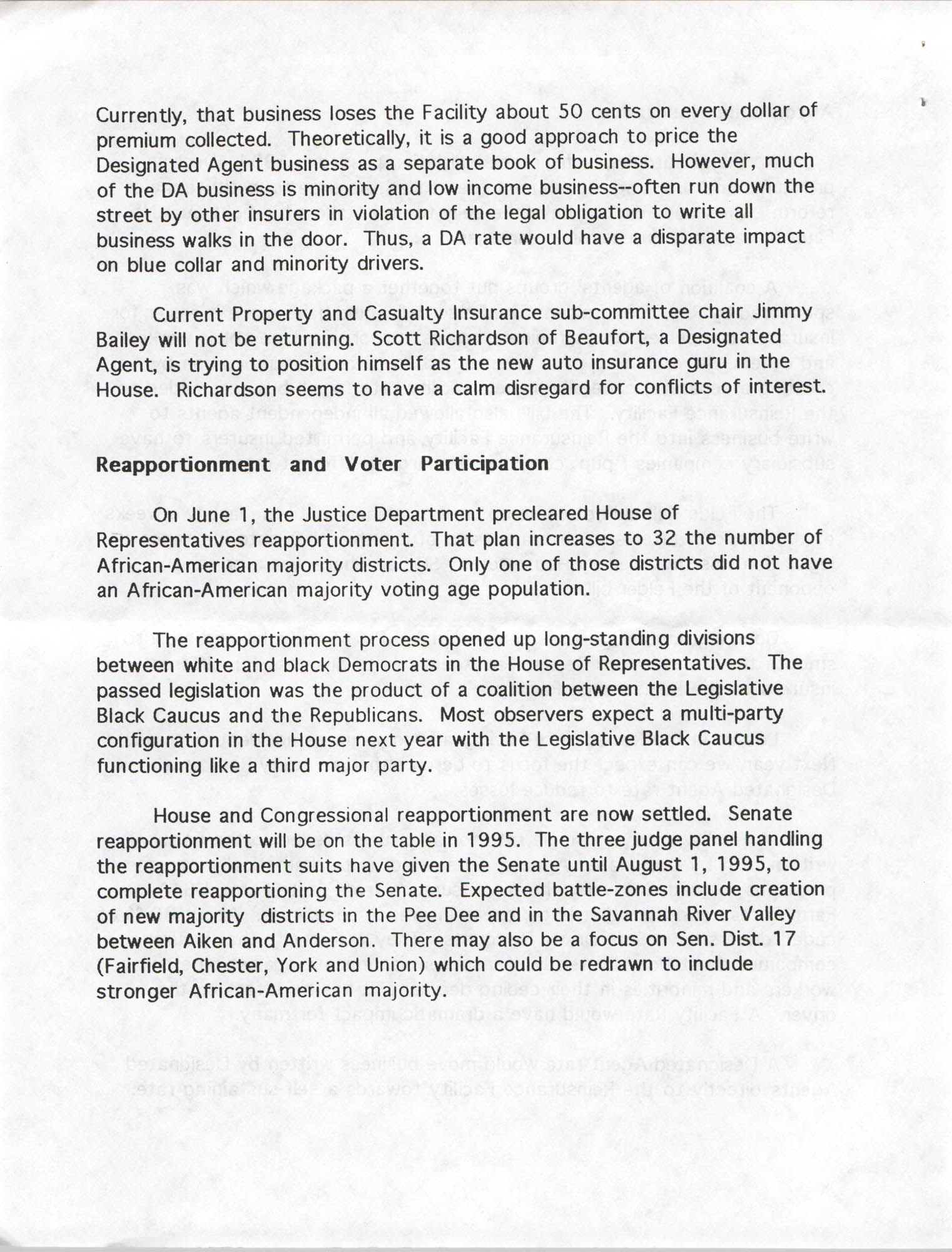 South Carolina Fair Share Legislative Update, June 30, 1994, Page 8