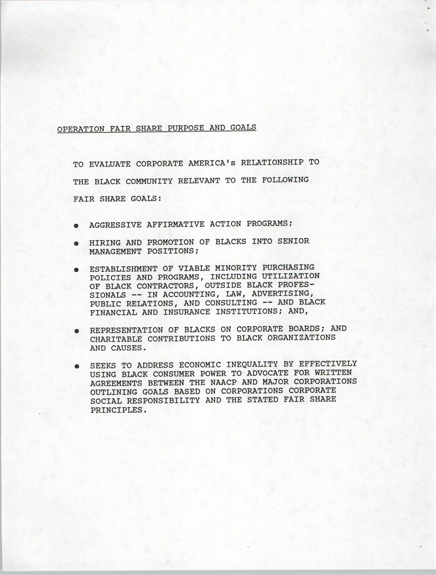 Operation Fair Share Guidelines for NAACP Branches, Page 1