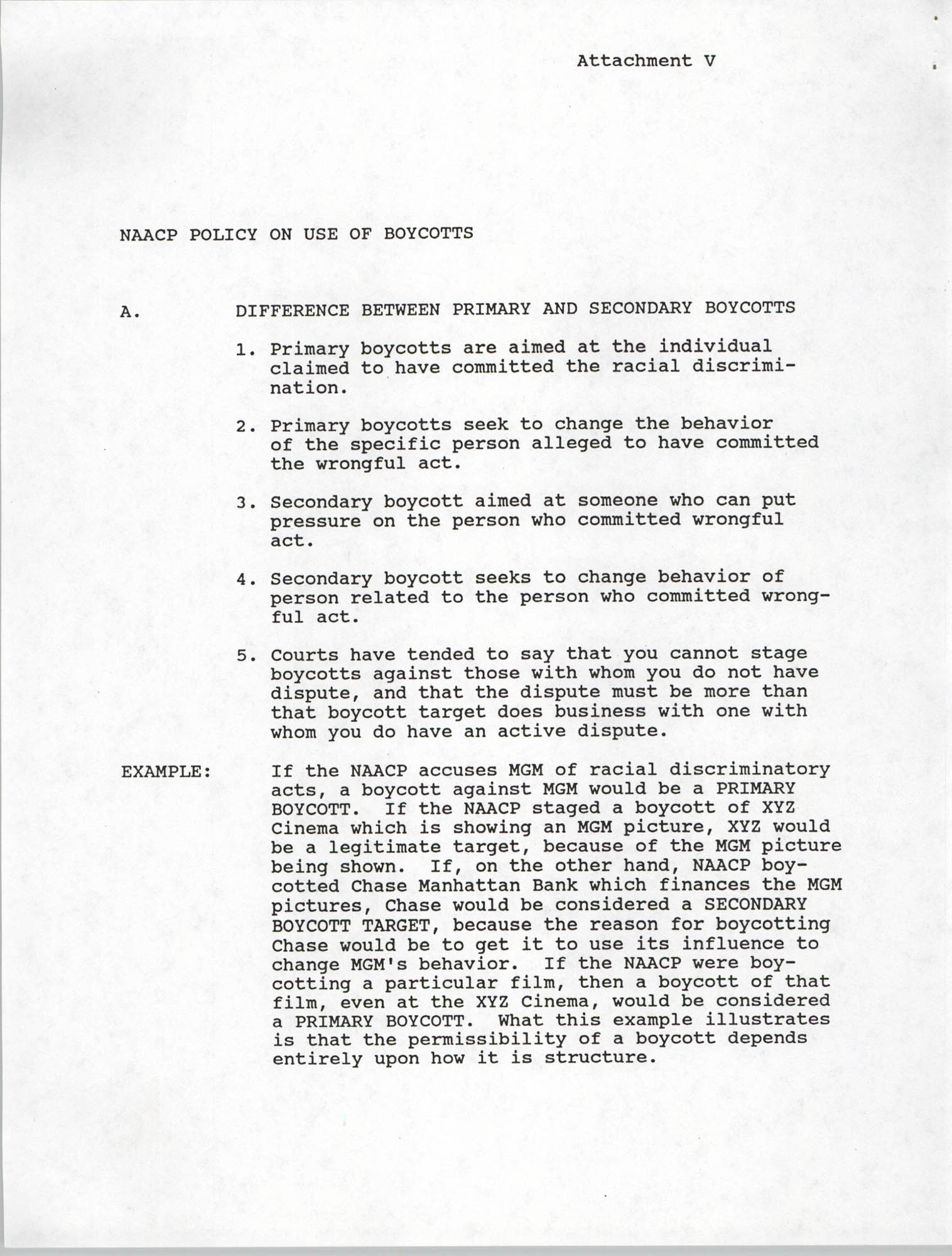 Operation Fair Share Guidelines for NAACP Branches, Attachment V, Page 1