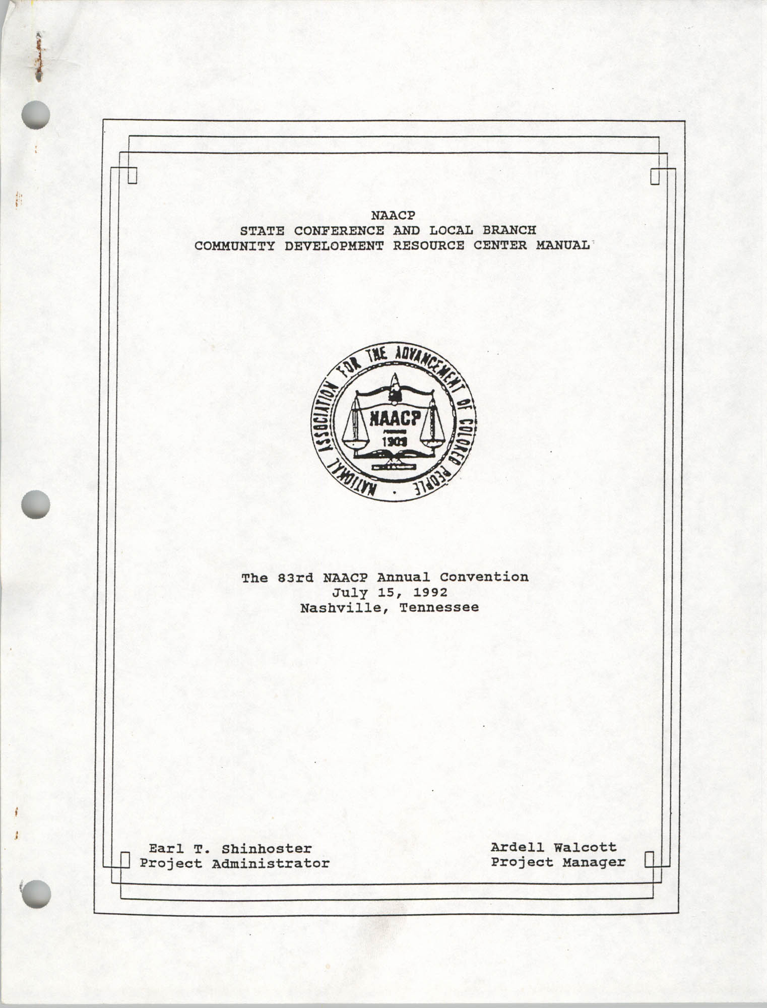 NAACP State Conference and Local Branch Community Development Resource Center Manual, Cover