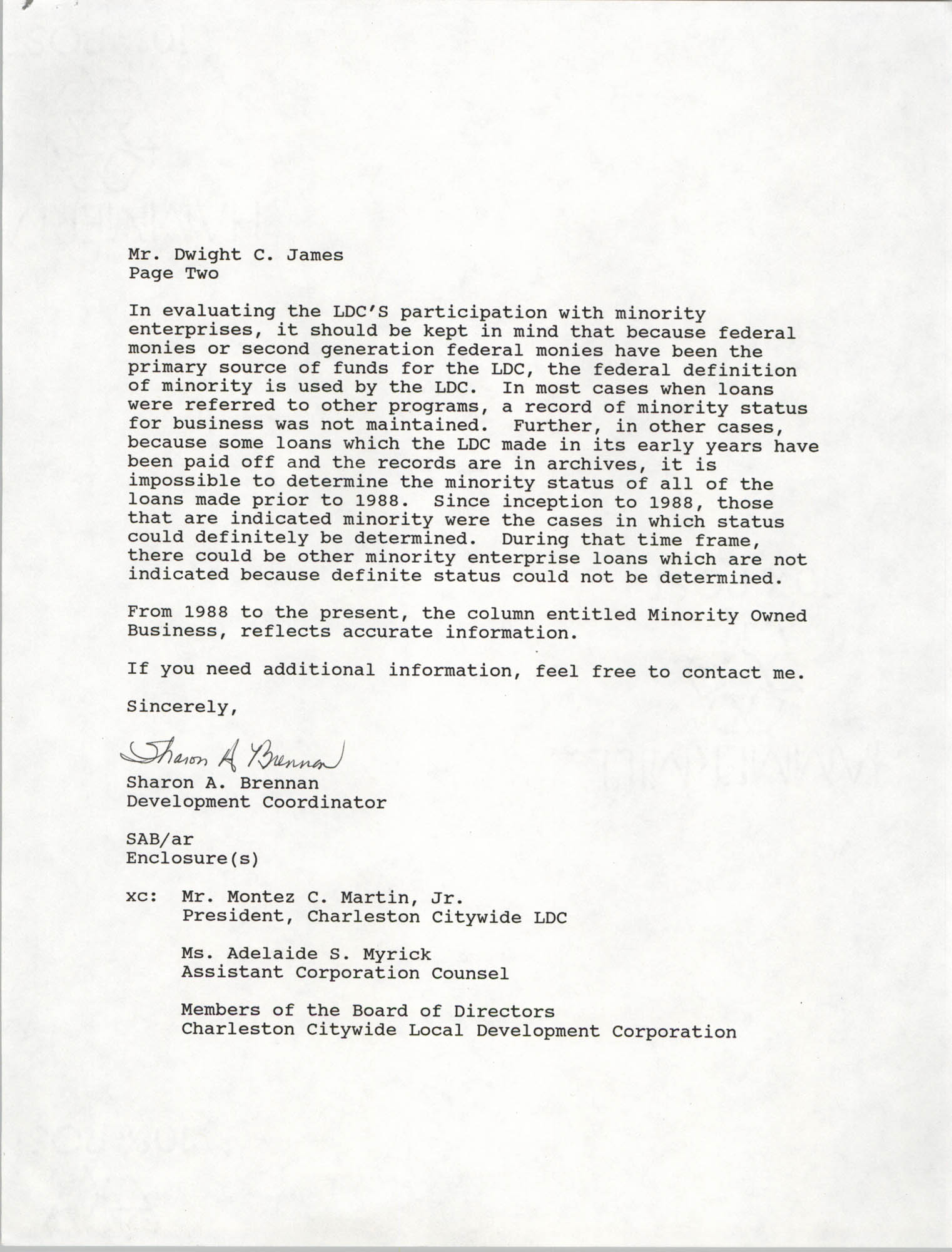 Letter from Sharon A. Brennan to Dwight C. James, June 11, 1993, Page 2
