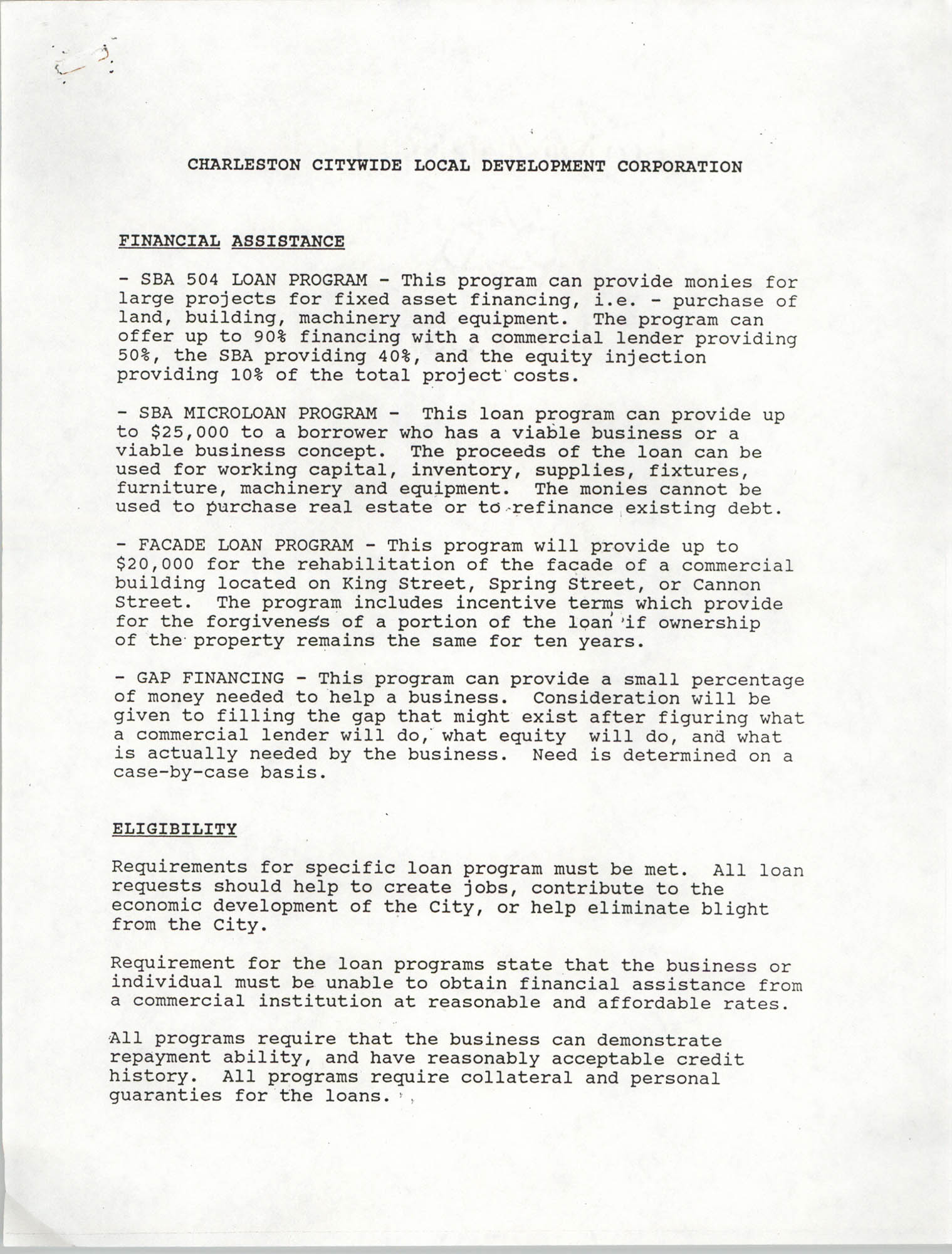Charleston Citywide Local Development Corporation Charter, February 14, 1980