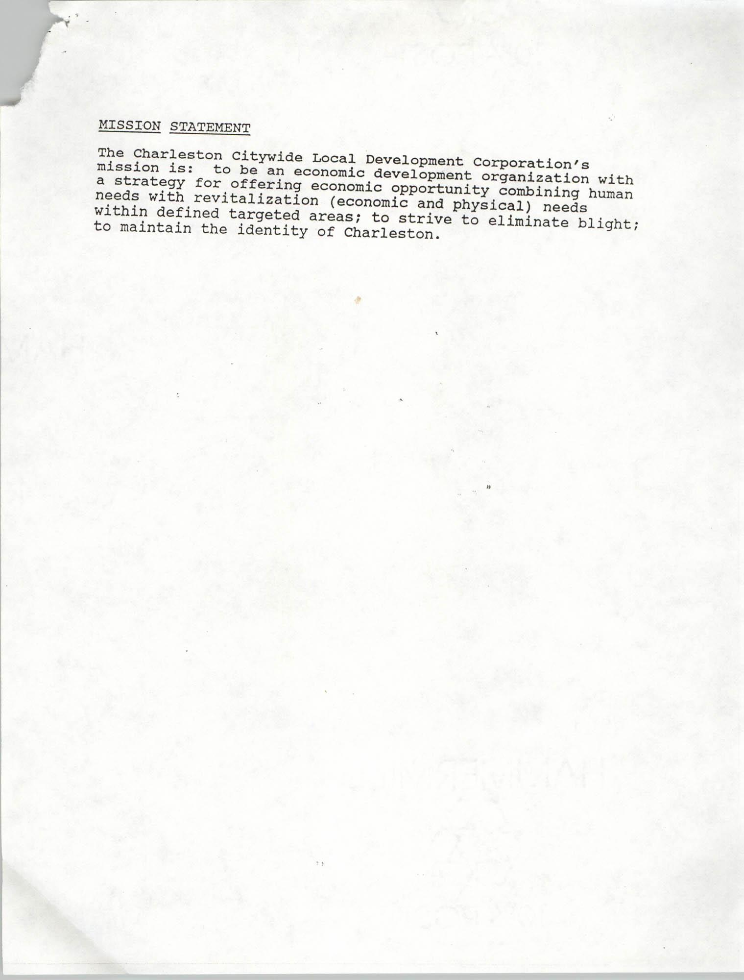 Charleston Citywide Local Development Corporation Charter, Mission Statement