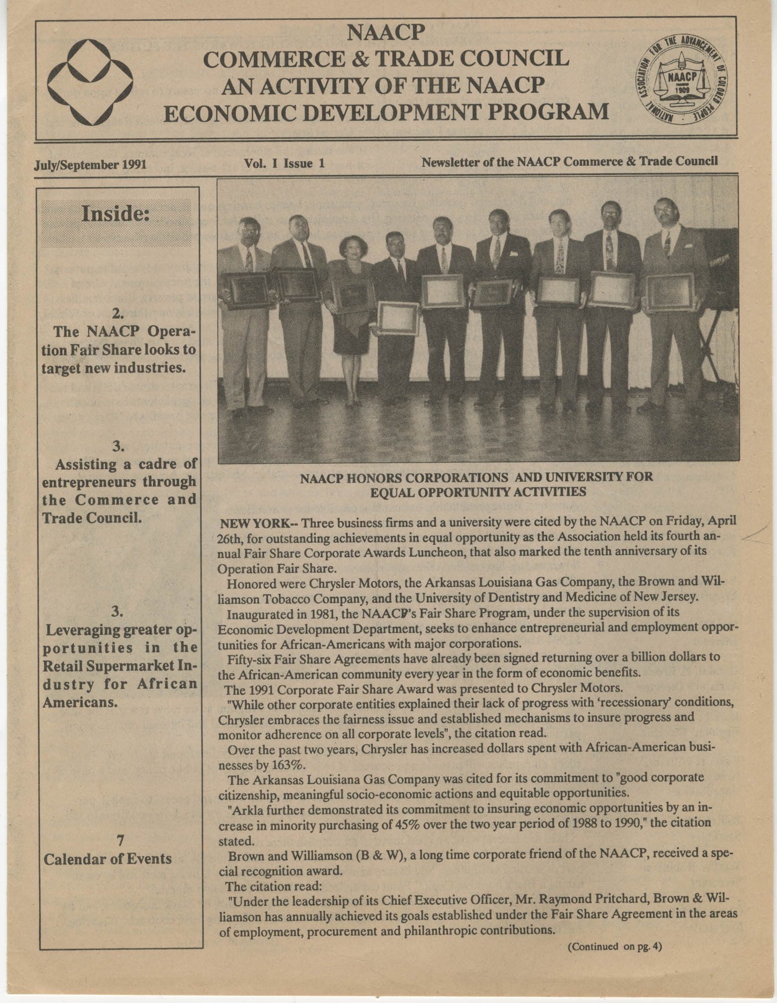 NAACP Commerce and Trade Council, July/September 1991, Vol. 1, Issue 1, Page 1
