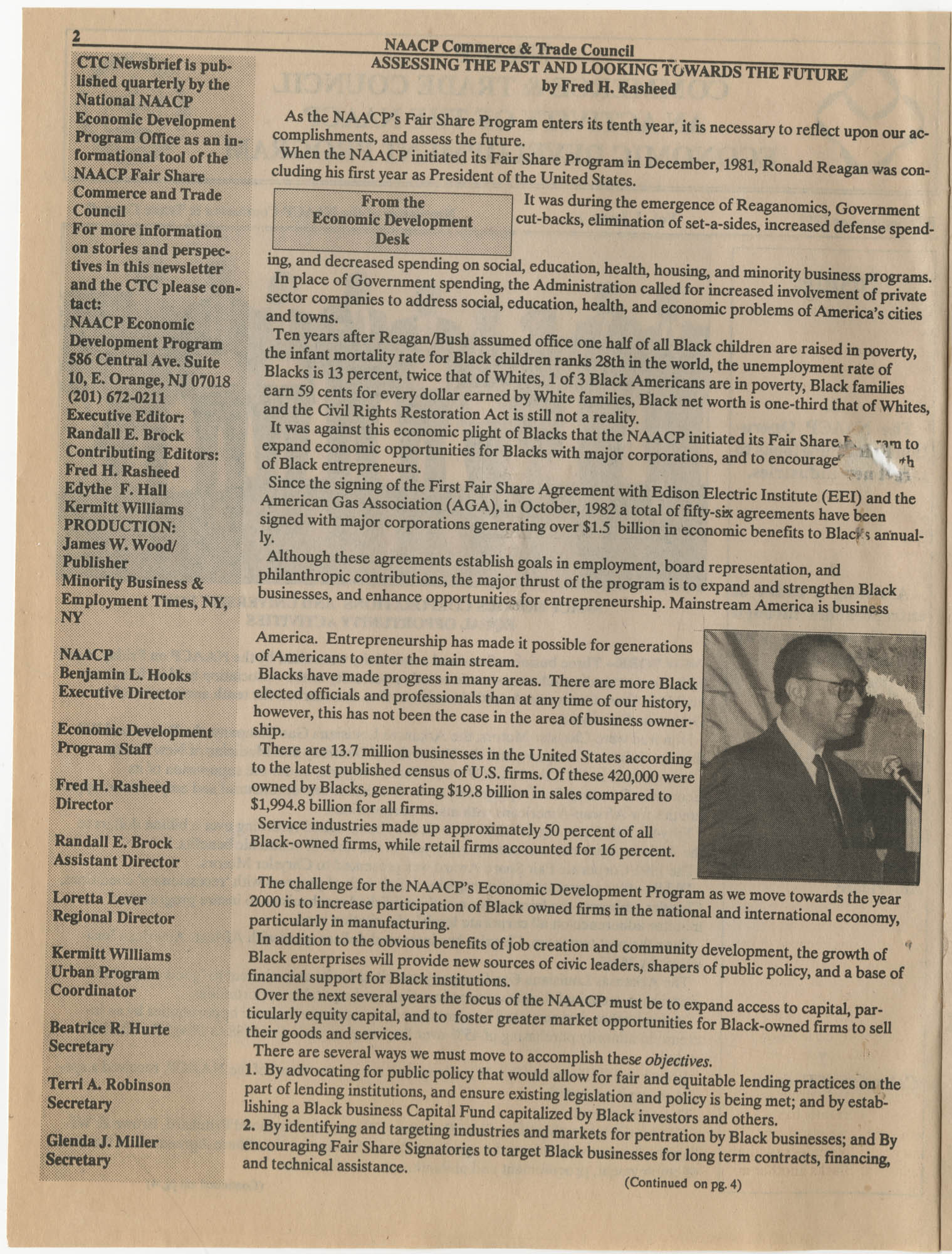 NAACP Commerce and Trade Council, July/September 1991, Vol. 1, Issue 1, Page 2