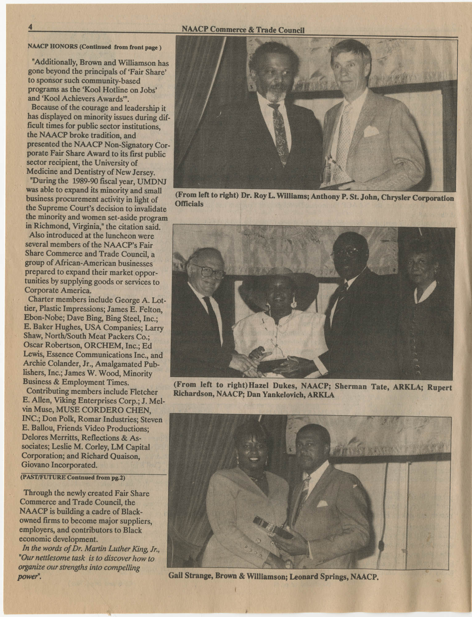 NAACP Commerce and Trade Council, July/September 1991, Vol. 1, Issue 1, Page 4