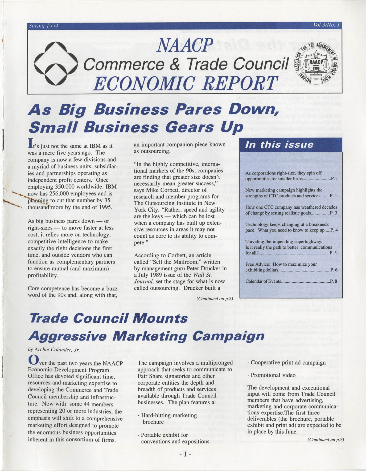 NAACP Commerce and Trade Council Economic Report, Spring 1994, Vol. 3, No. 1, Page 1
