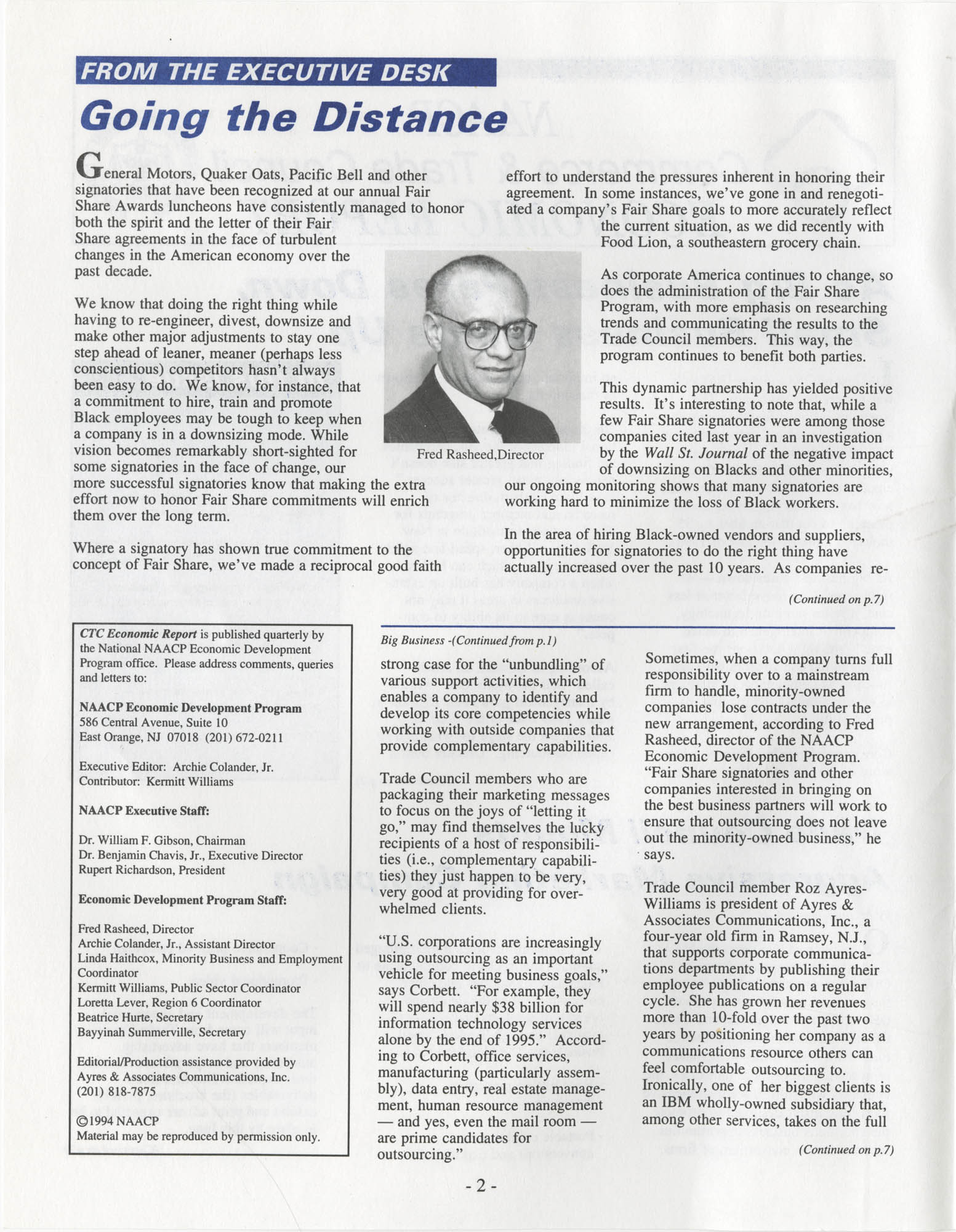 NAACP Commerce and Trade Council Economic Report, Spring 1994, Vol. 3, No. 1, Page 2