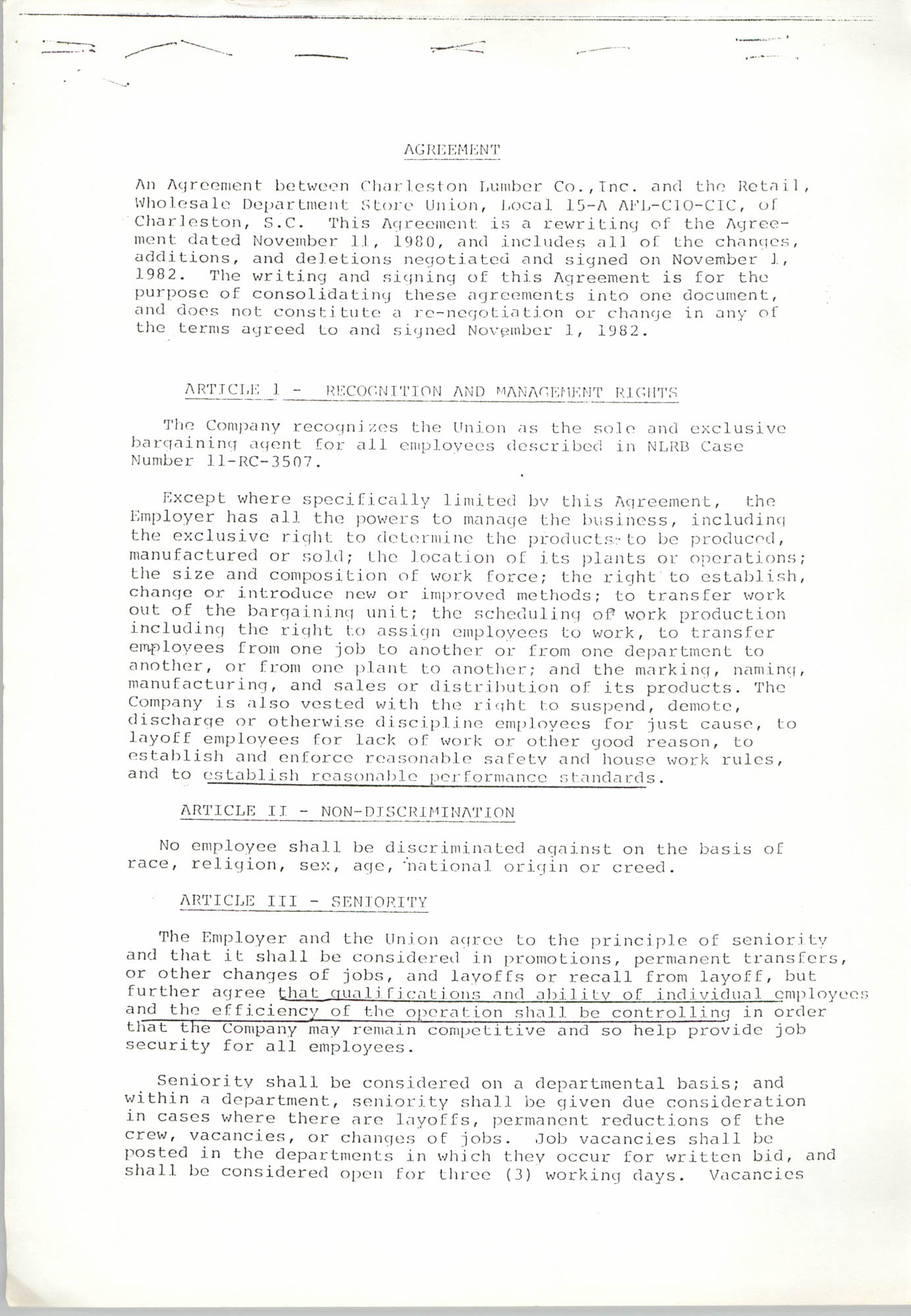 Agreement, Charleston Lumber Co., Inc. and Retail, Wholesale Department Store Union, Page 1