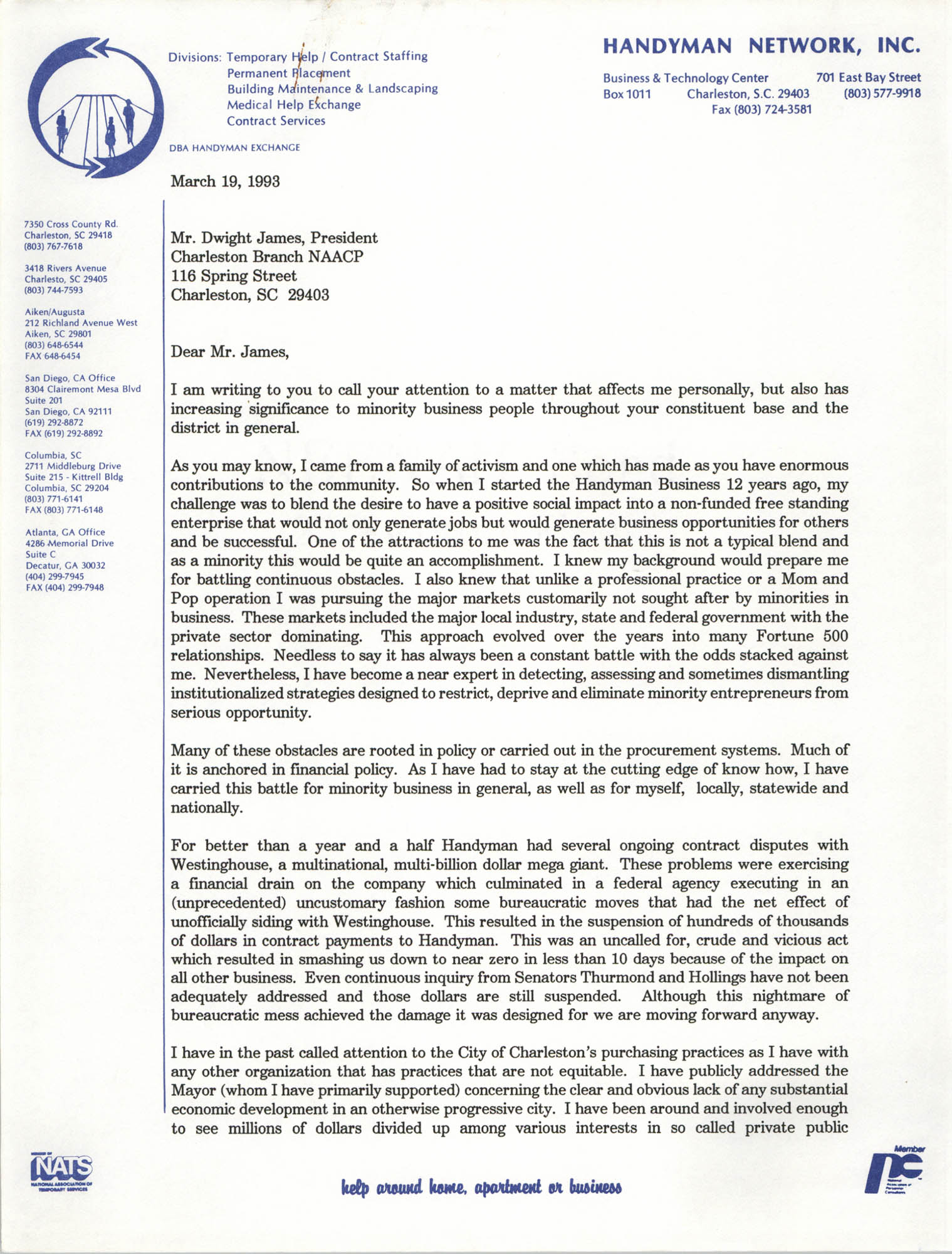 Letter from Andre V. Woods to Dwight James, March 19, 1993, Page 1