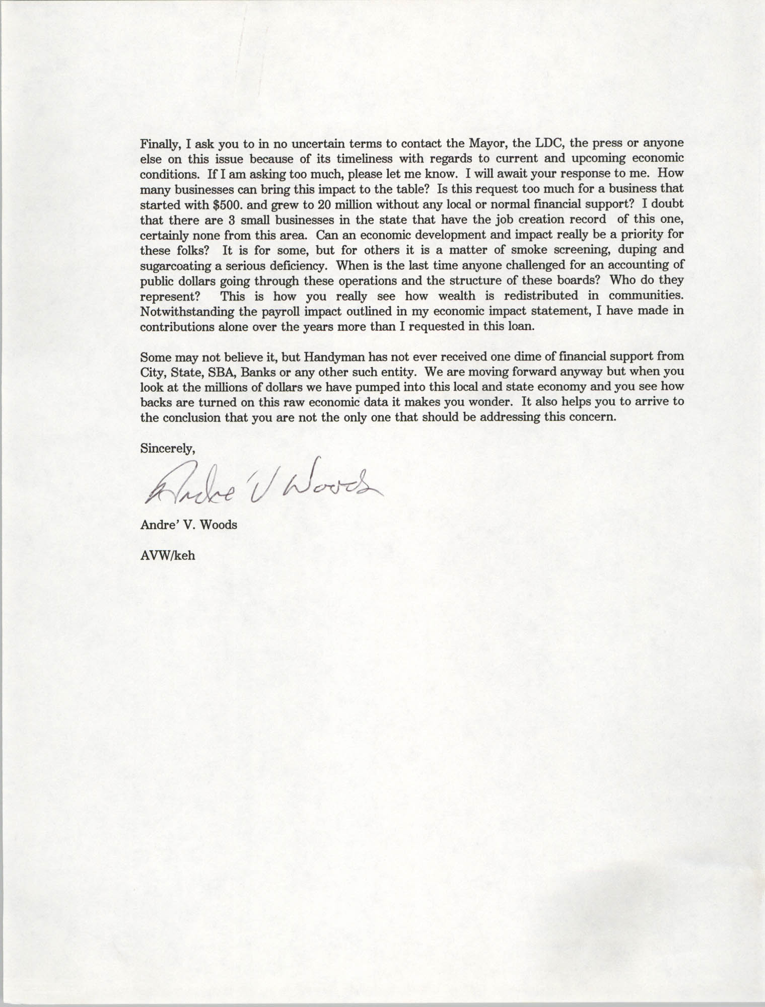 Letter from Andre V. Woods to Dwight James, March 19, 1993, Page 3