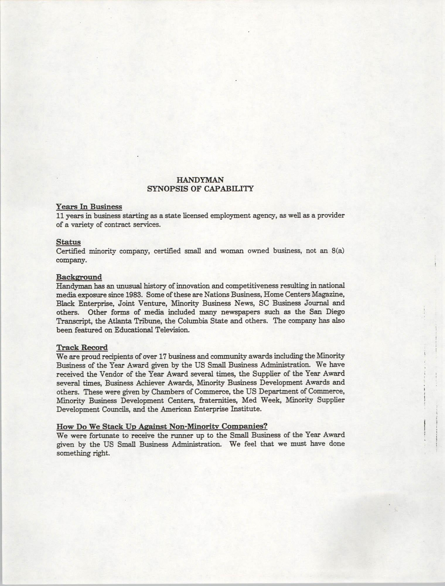 Handyman Network, Inc., Handyman Synopsis of Capability