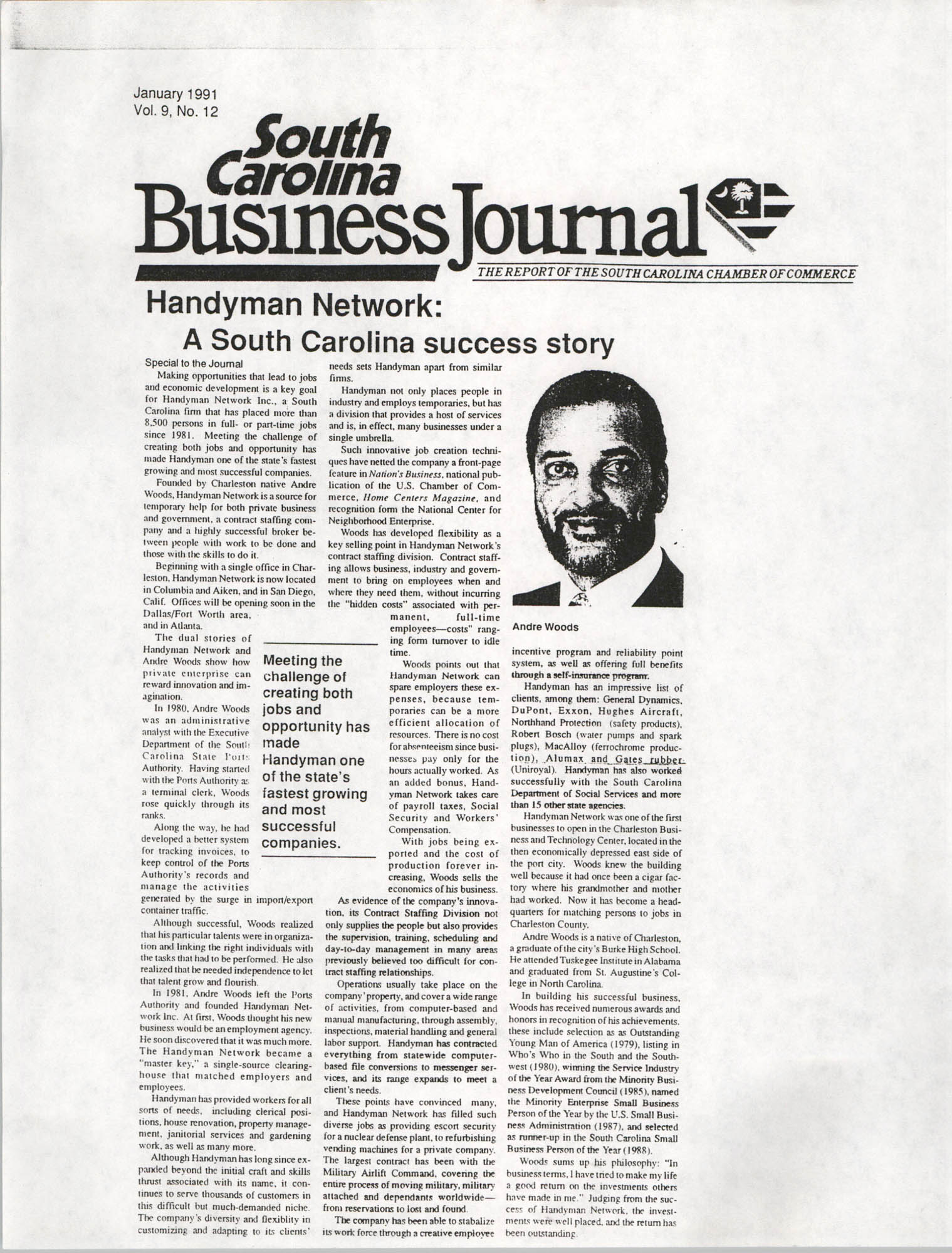 Handyman Network, Inc., South Carolina Business Journal, Vol. 9, No. 12, January 1991