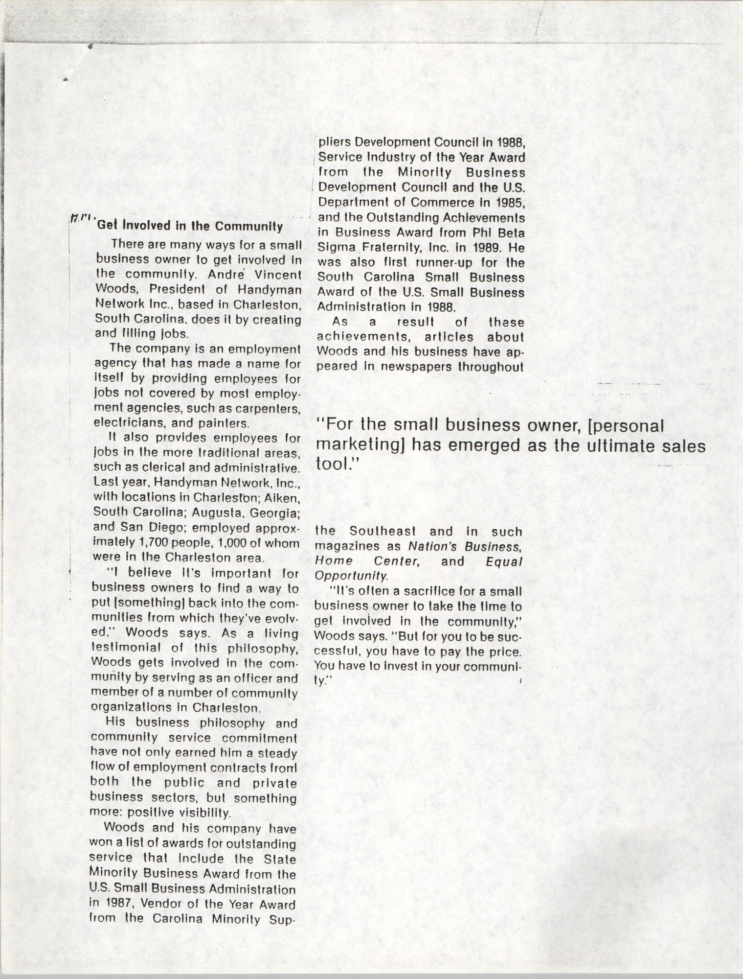 Handyman Network, Inc., Business and Economic, Volume 36, Number 4, July-Sept. 1990, Cover, Page 1
