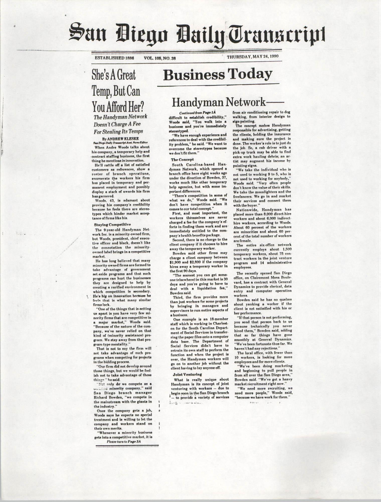 Handyman Network, Inc., San Diego Daily Transcript
