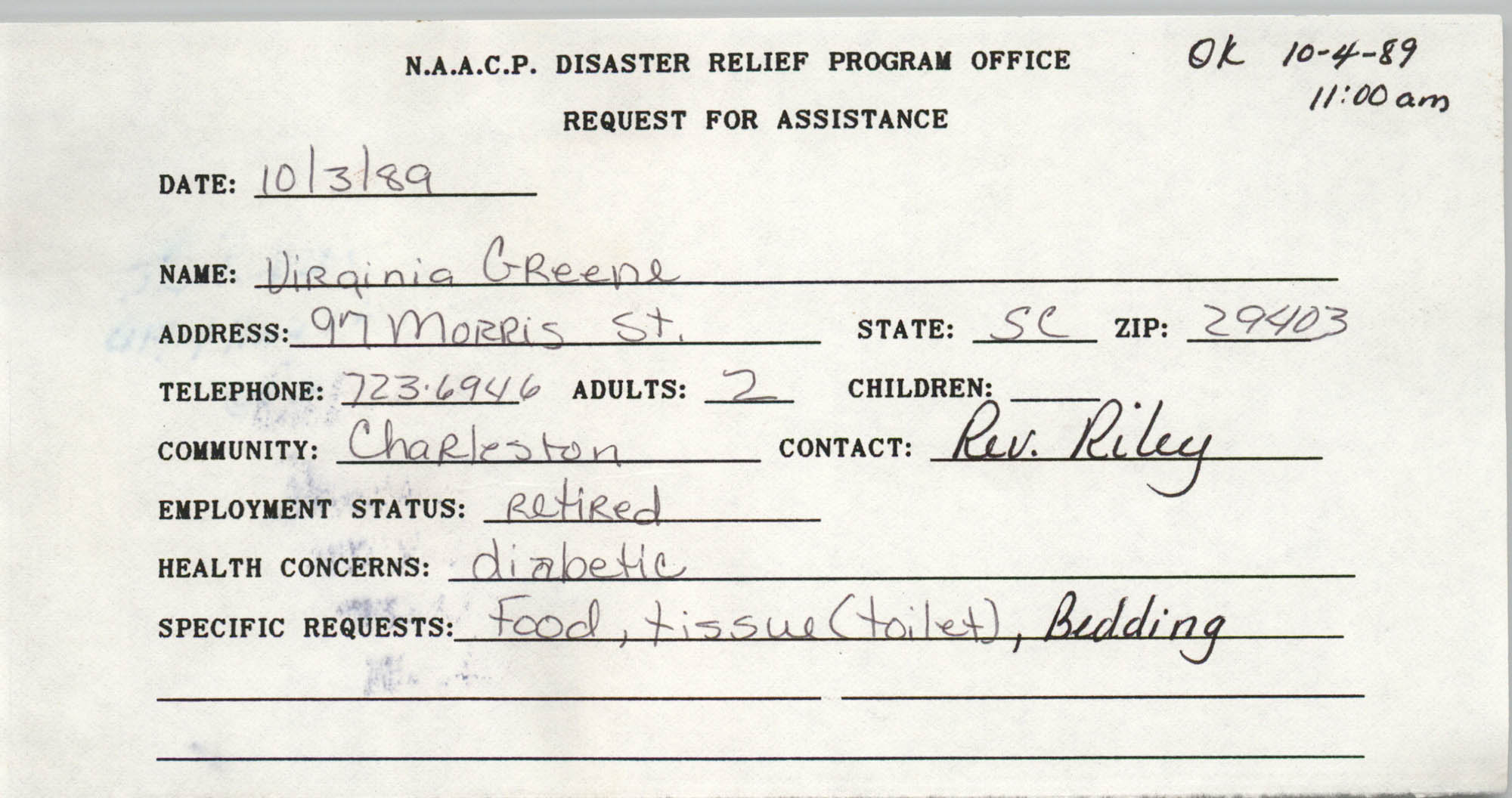 NAACP Disaster Relief Program Office, Hurricane Huge Requests for Assistance, 1989, Page 2