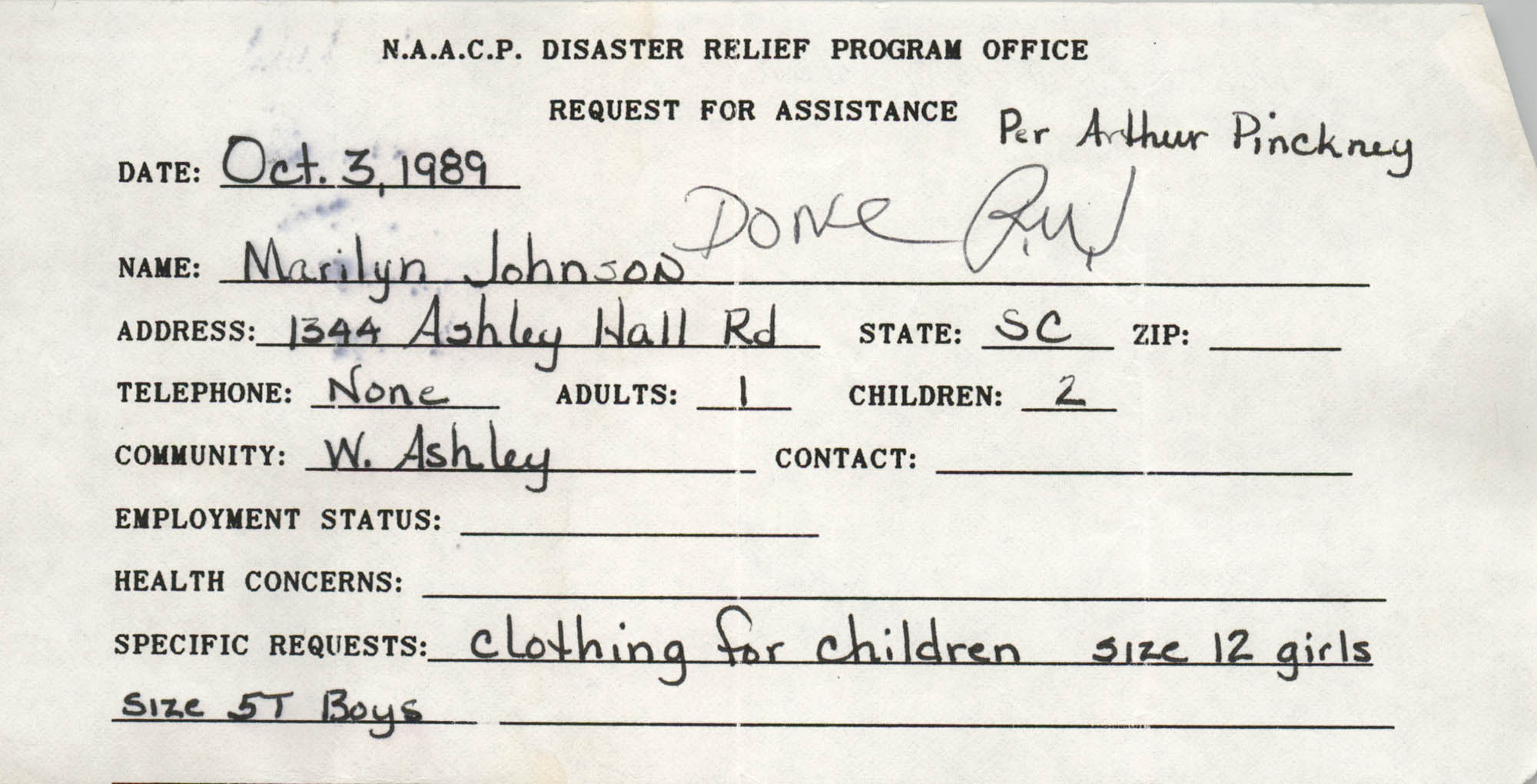 NAACP Disaster Relief Program Office, Hurricane Huge Requests for Assistance, 1989, Page 3