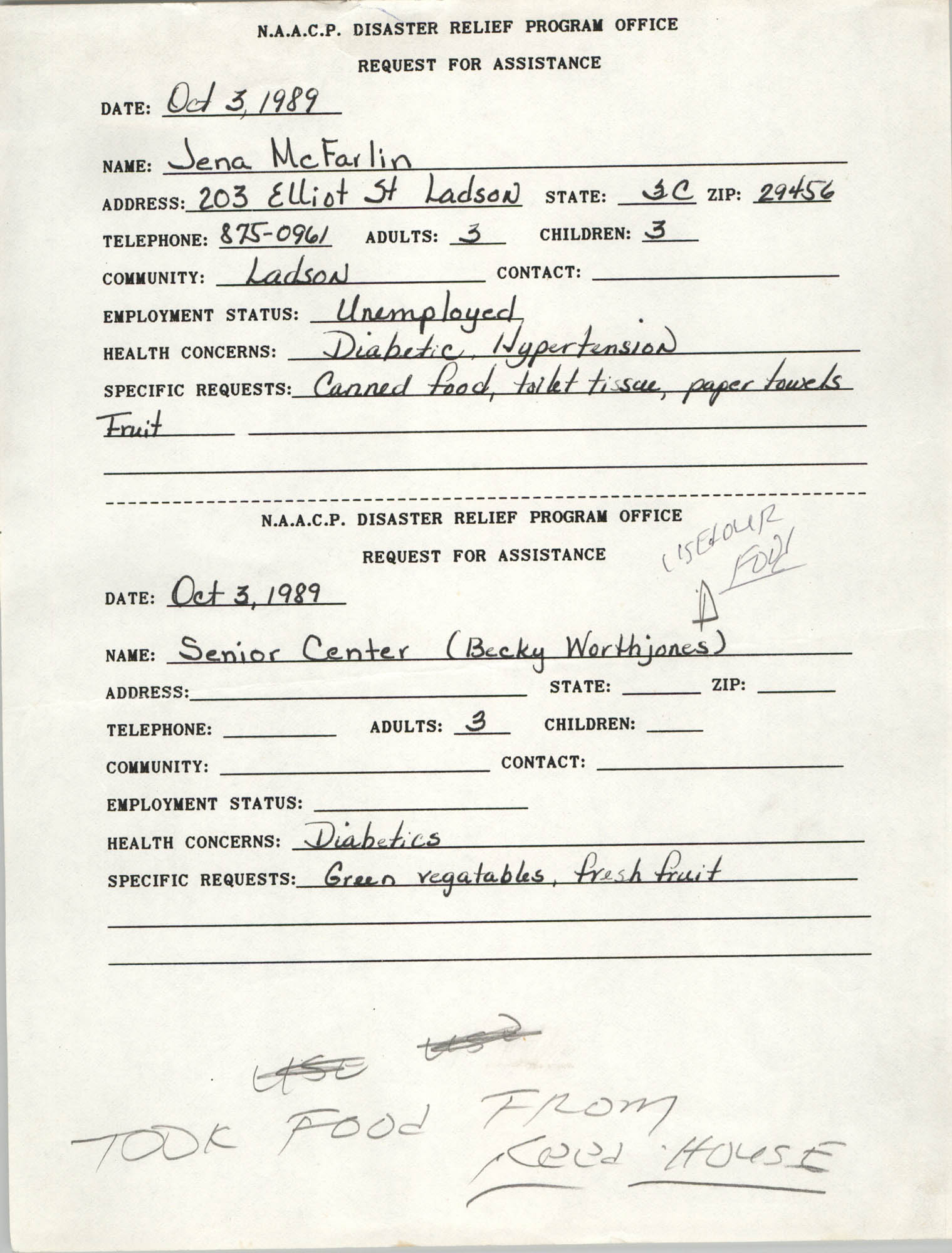 NAACP Disaster Relief Program Office, Hurricane Huge Requests for Assistance, 1989, Page 7