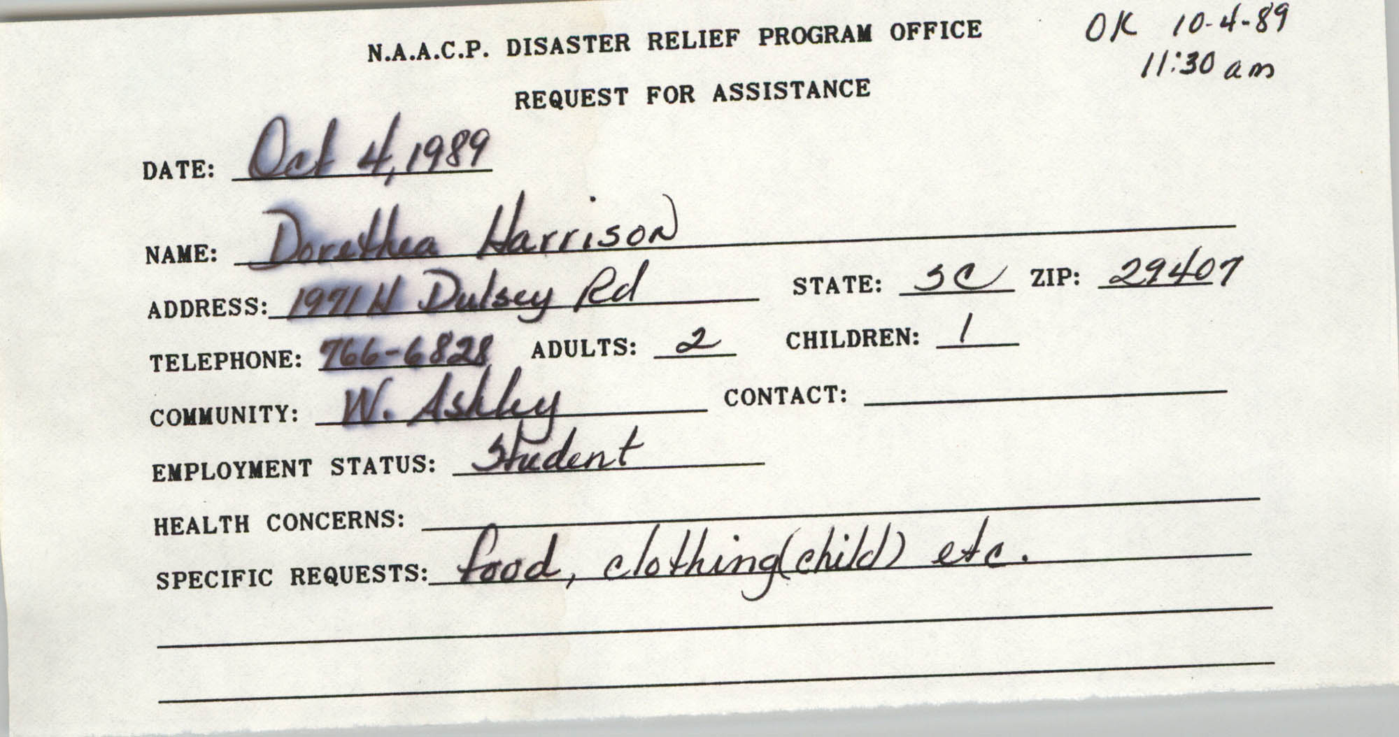 NAACP Disaster Relief Program Office, Hurricane Huge Requests for Assistance, 1989, Page 8