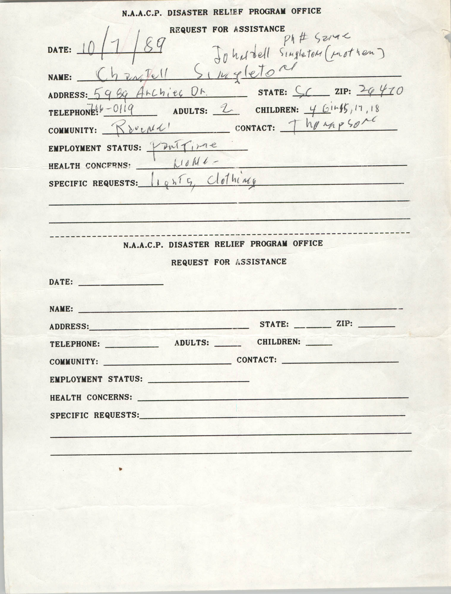 NAACP Disaster Relief Program Office, Hurricane Huge Requests for Assistance, 1989, Page 11