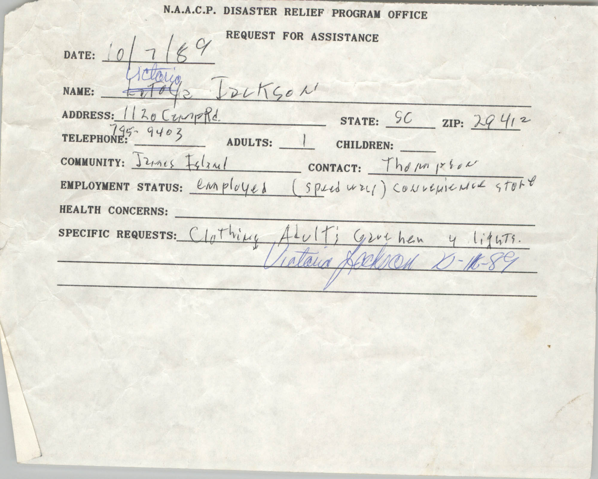 NAACP Disaster Relief Program Office, Hurricane Huge Requests for Assistance, 1989, Page 13