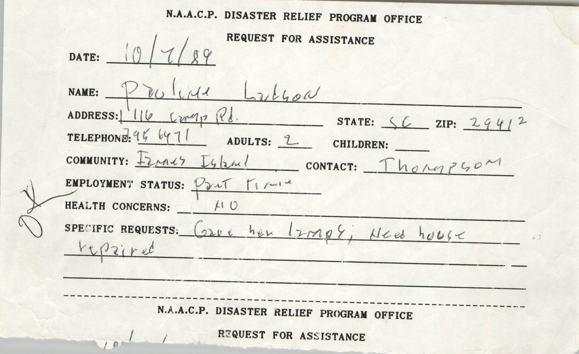 NAACP Disaster Relief Program Office, Hurricane Huge Requests for Assistance, 1989, Page 17