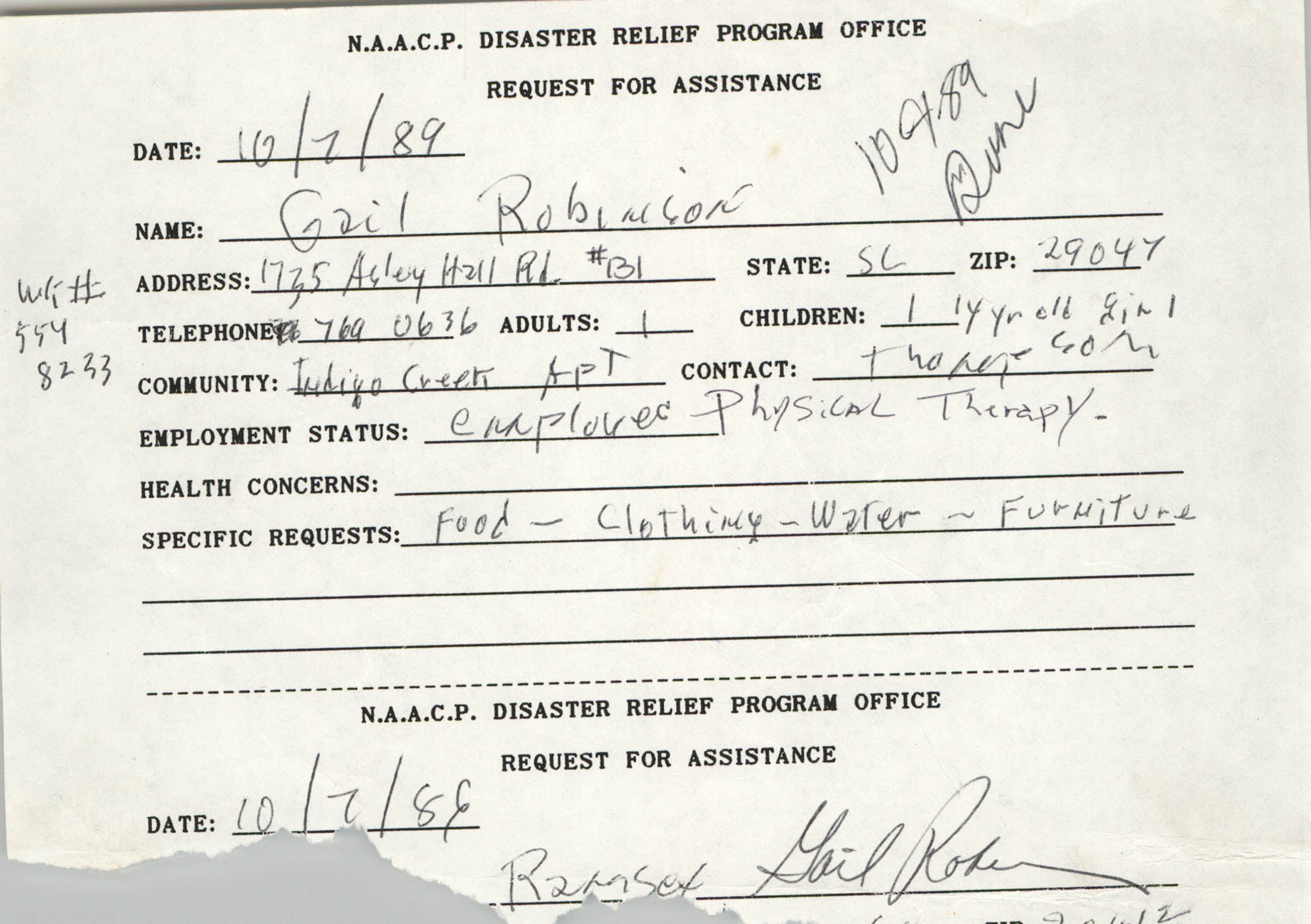 NAACP Disaster Relief Program Office, Hurricane Huge Requests for Assistance, 1989, Page 18