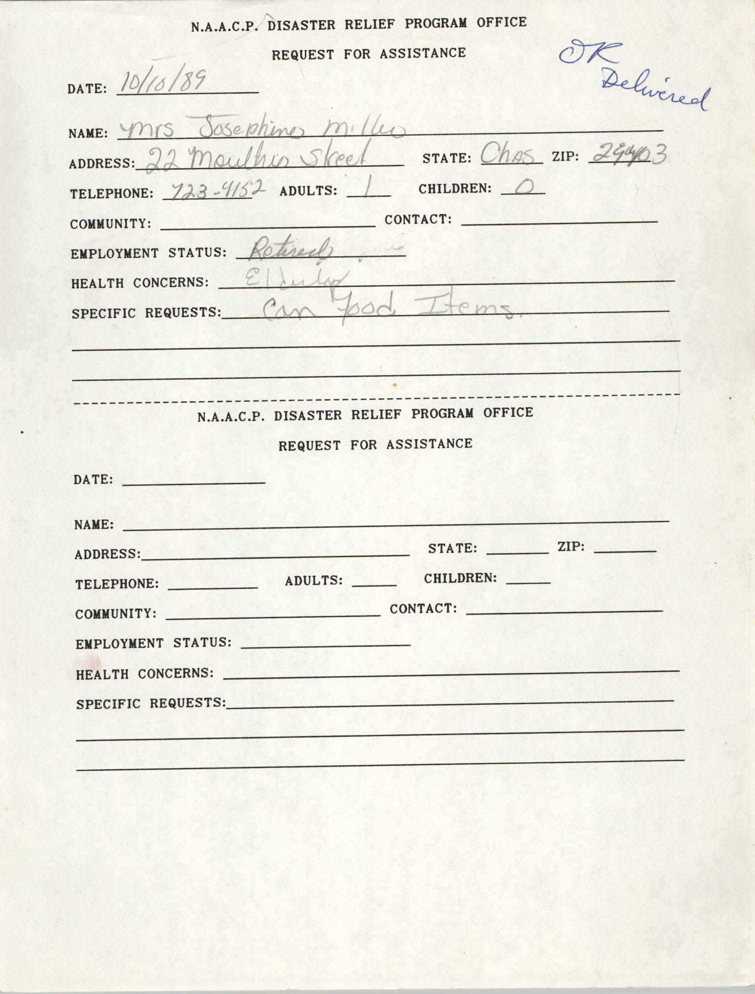 NAACP Disaster Relief Program Office, Hurricane Huge Requests for Assistance, 1989, Page 20