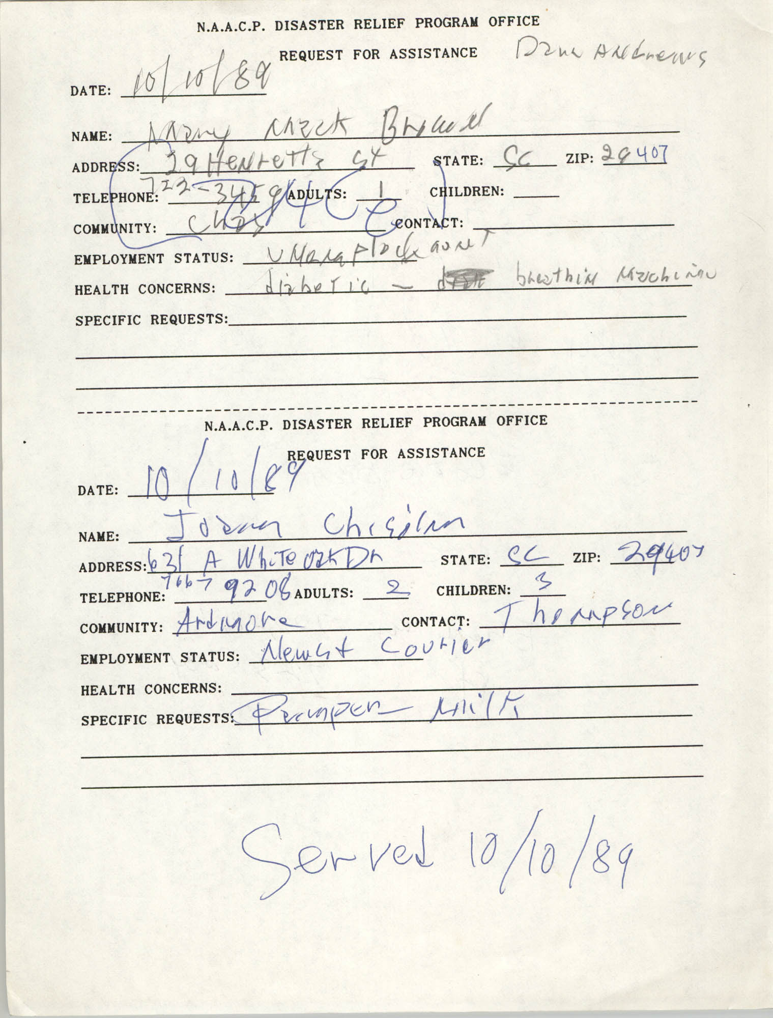 NAACP Disaster Relief Program Office, Hurricane Huge Requests for Assistance, 1989, Page 25