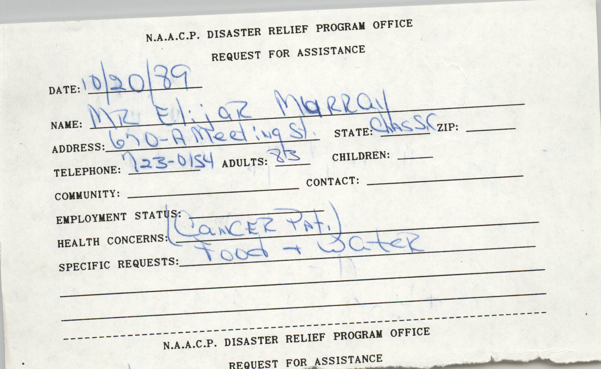 NAACP Disaster Relief Program Office, Hurricane Huge Requests for Assistance, 1989, Page 38