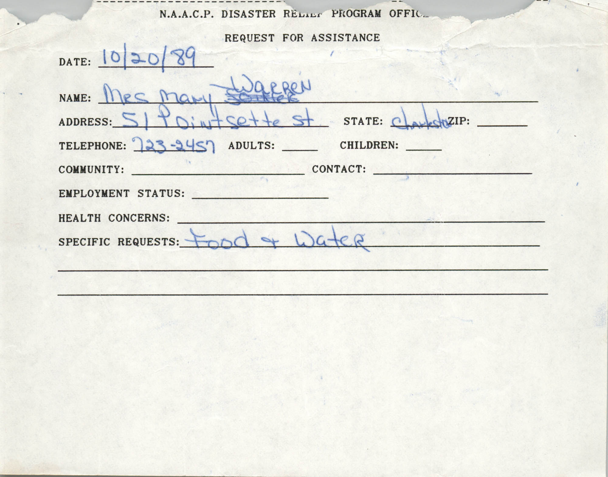 NAACP Disaster Relief Program Office, Hurricane Huge Requests for Assistance, 1989, Page 40