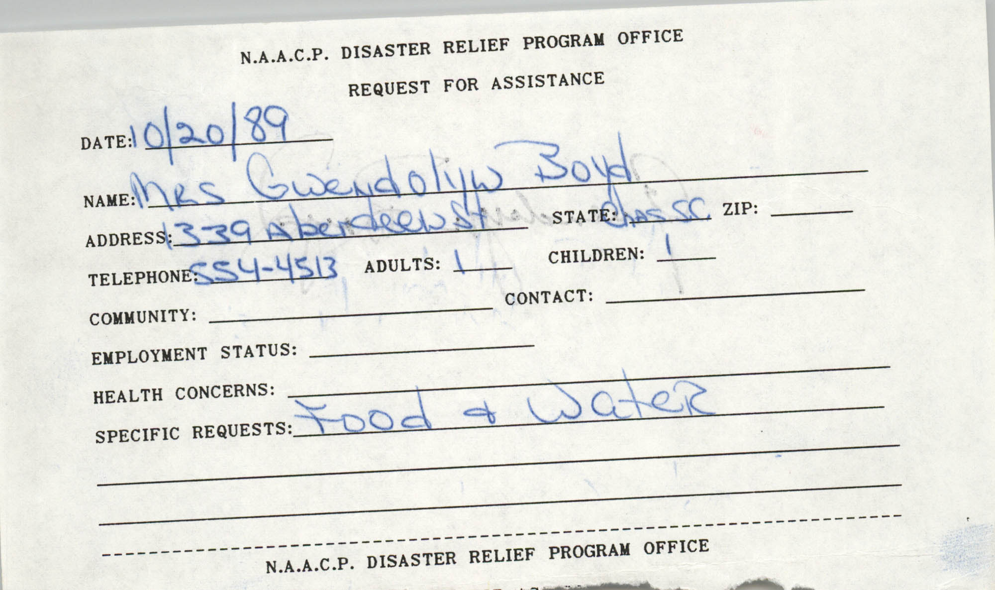 NAACP Disaster Relief Program Office, Hurricane Huge Requests for Assistance, 1989, Page 41