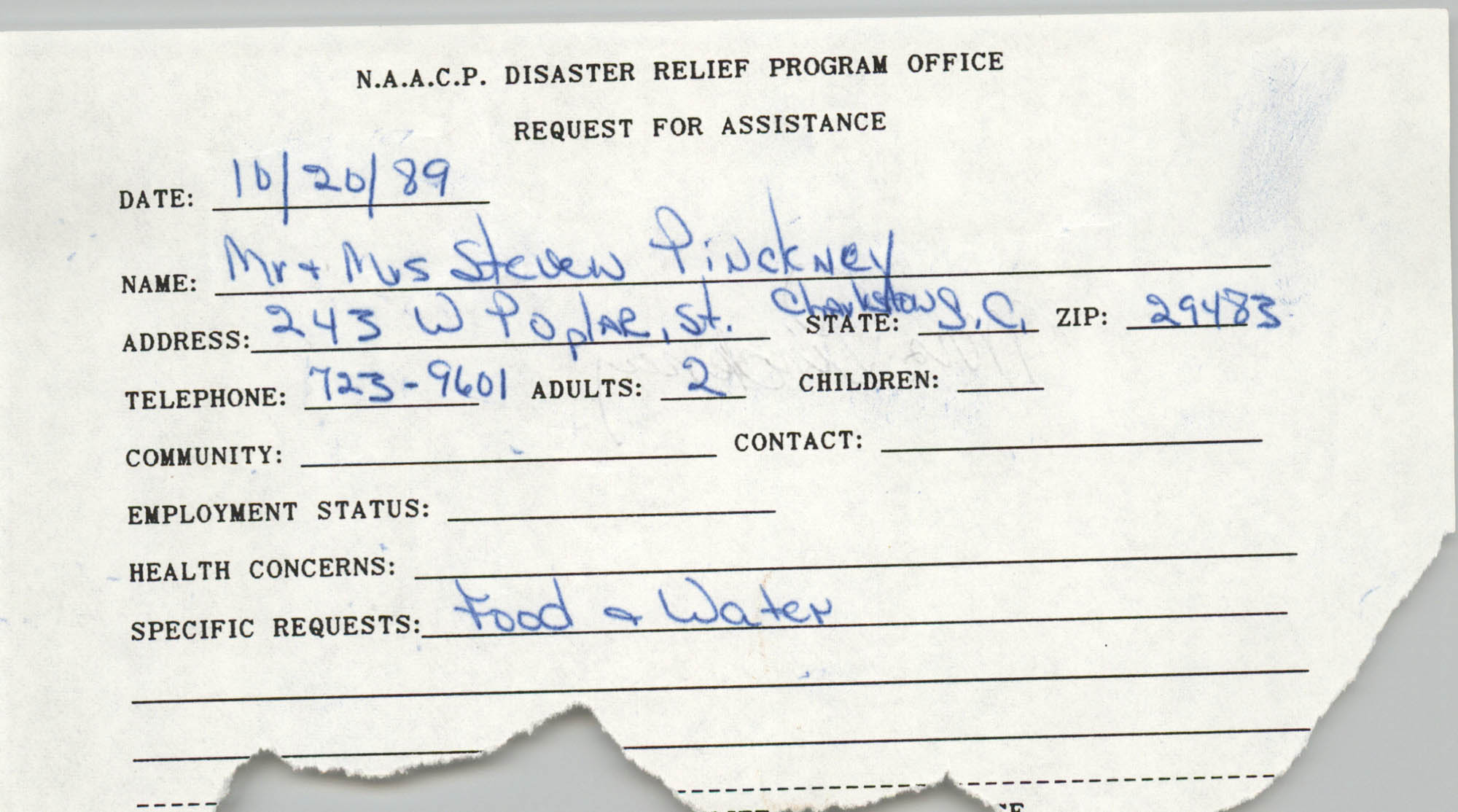 NAACP Disaster Relief Program Office, Hurricane Huge Requests for Assistance, 1989, Page 42