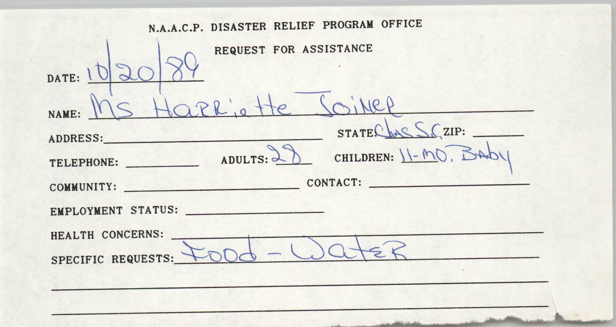 NAACP Disaster Relief Program Office, Hurricane Huge Requests for Assistance, 1989, Page 43