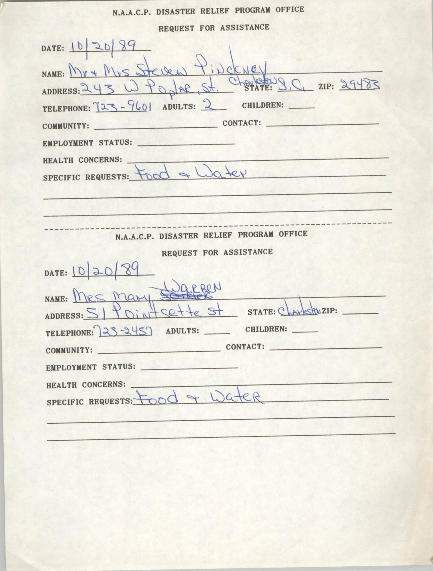 NAACP Disaster Relief Program Office, Hurricane Huge Requests for Assistance, 1989, Page 45