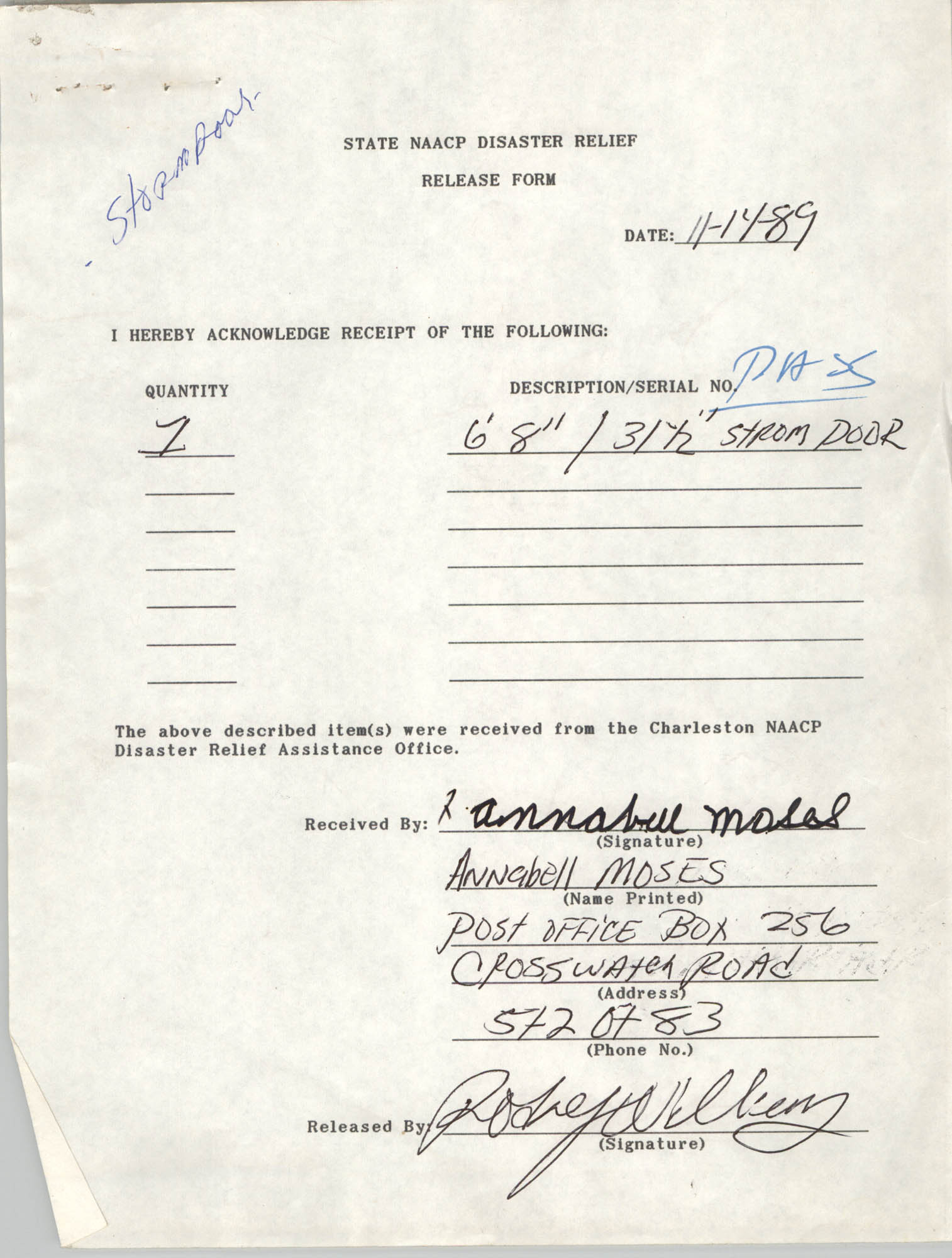 State NAACP Disaster Relief, Hurricane Huge Release Form, 1989, Page 2