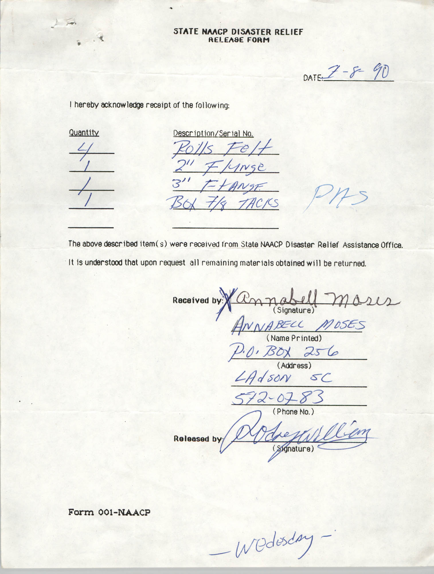 State NAACP Disaster Relief, Hurricane Huge Release Form, 1989, Page 3