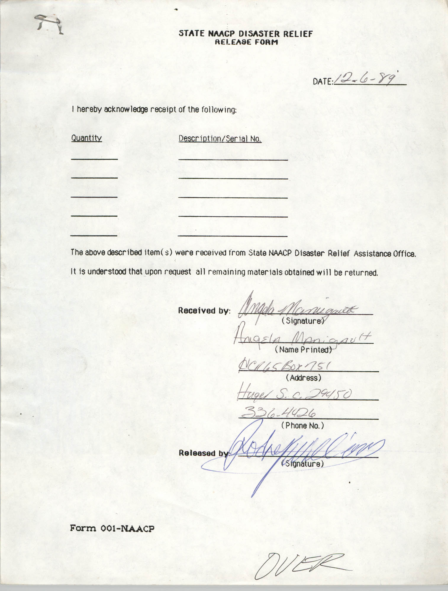 State NAACP Disaster Relief, Hurricane Huge Release Form, 1989, Page 4