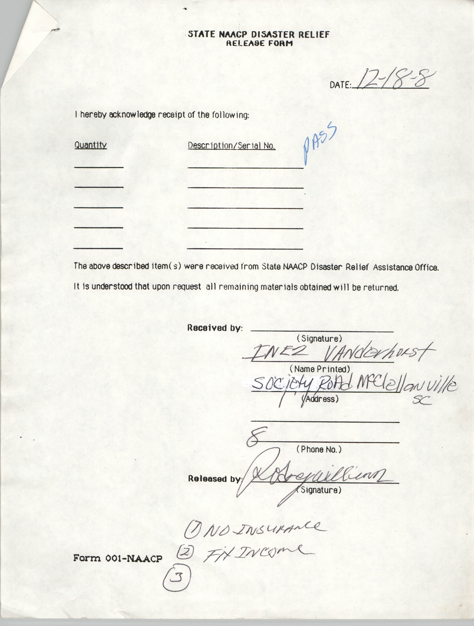 State NAACP Disaster Relief, Hurricane Huge Release Form, 1989, Page 5