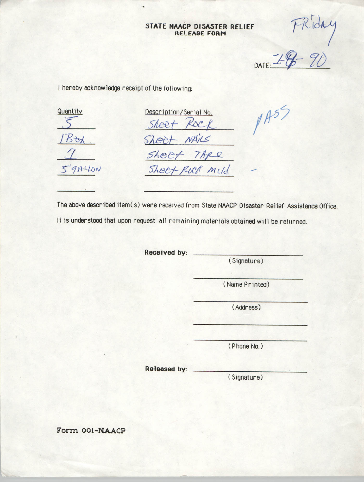 State NAACP Disaster Relief, Hurricane Huge Release Form, 1989, Page 6