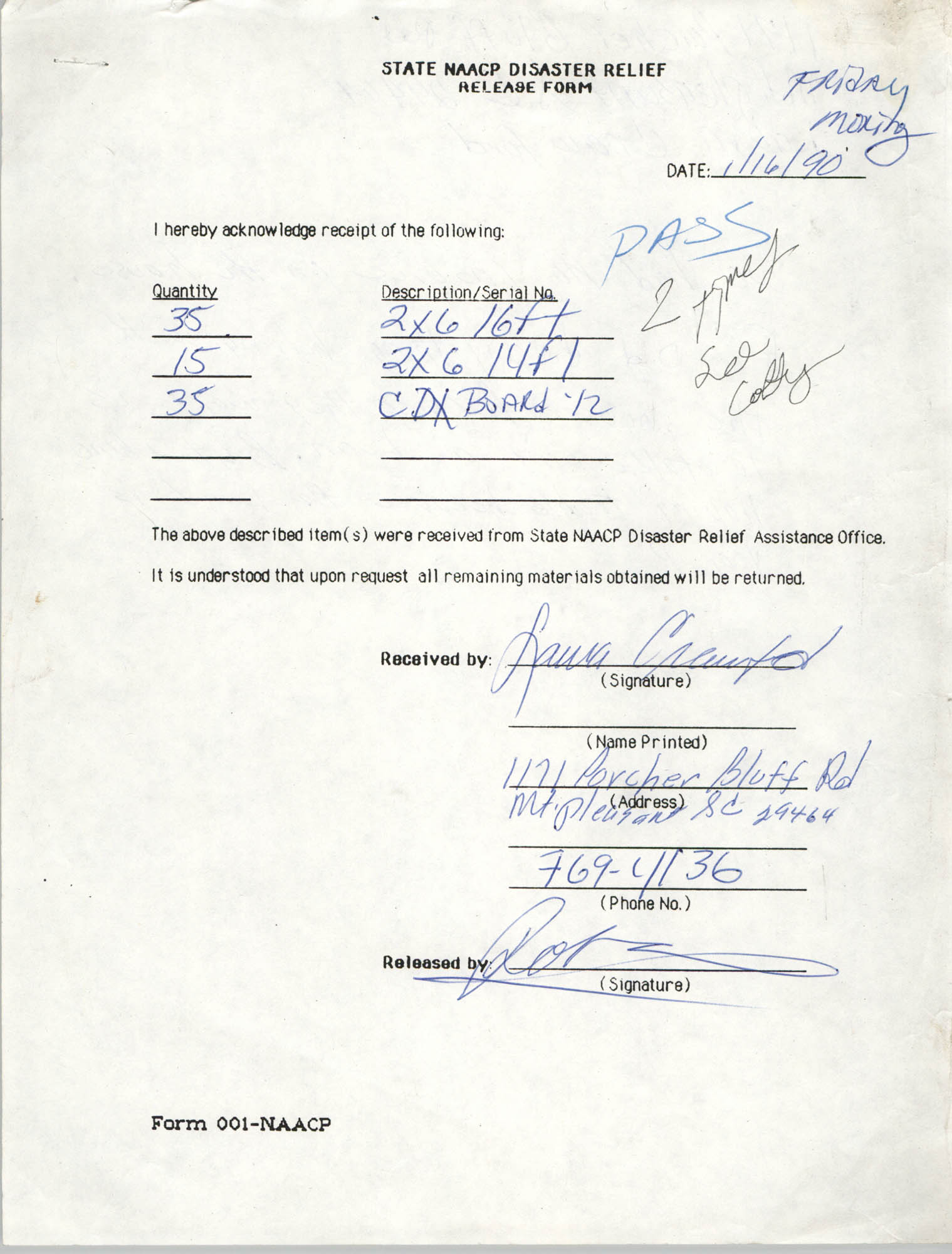 State NAACP Disaster Relief, Hurricane Huge Release Form, 1989, Page 7