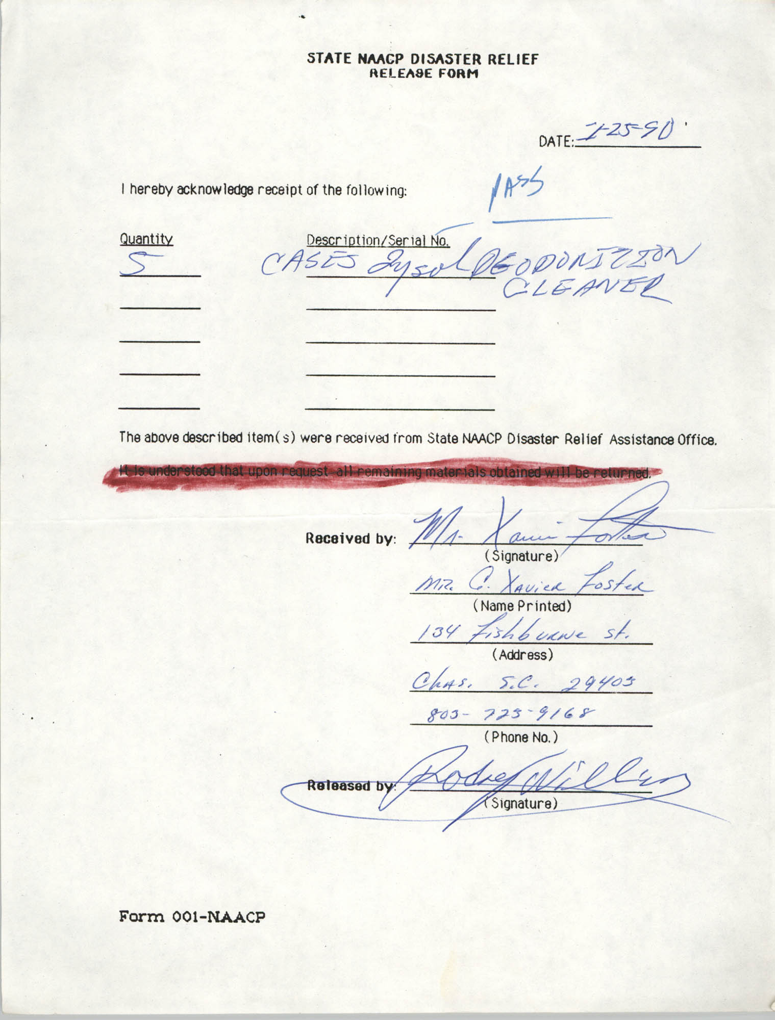 State NAACP Disaster Relief, Hurricane Huge Release Form, 1989, Page 8