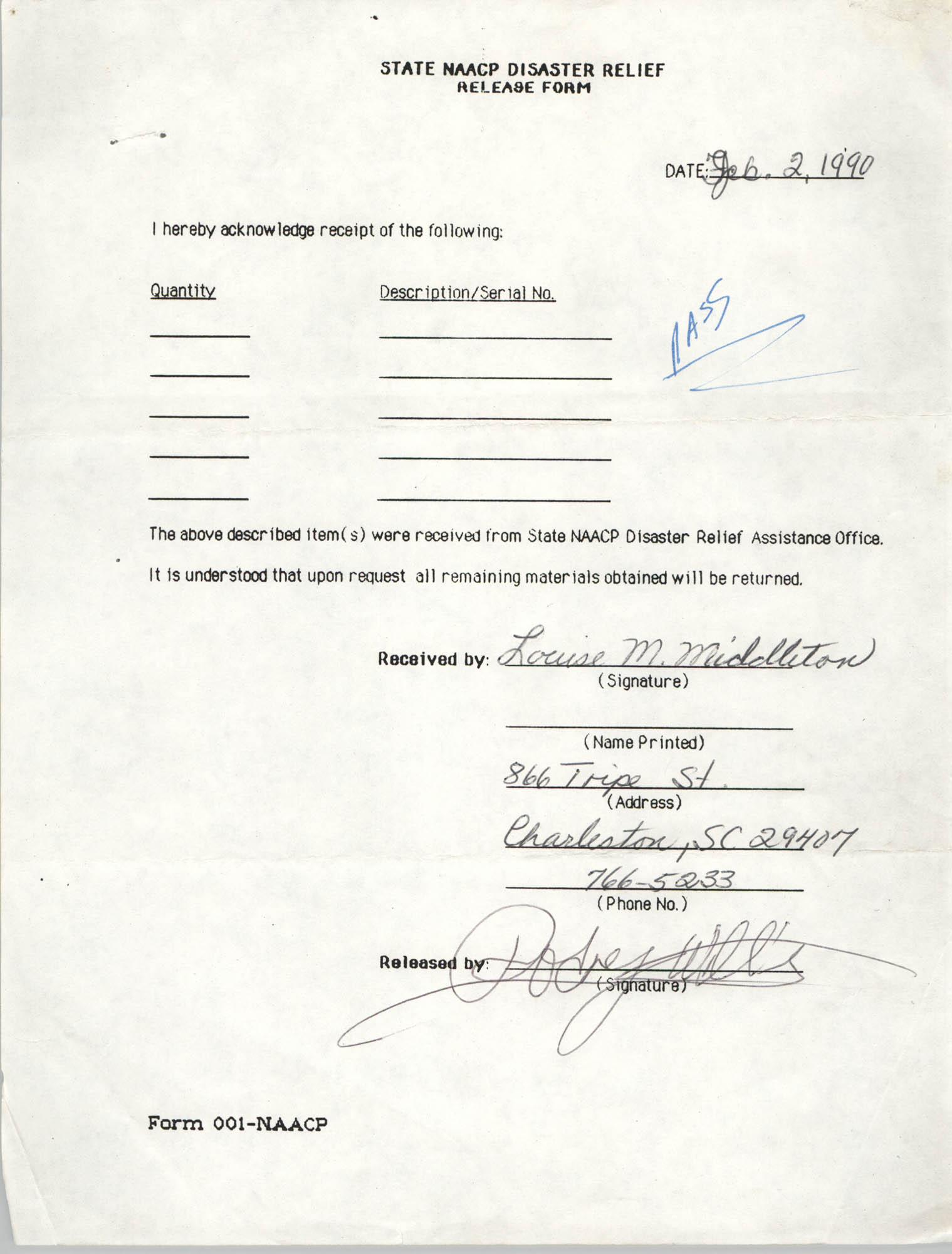 State NAACP Disaster Relief, Hurricane Huge Release Form, 1989, Page 9