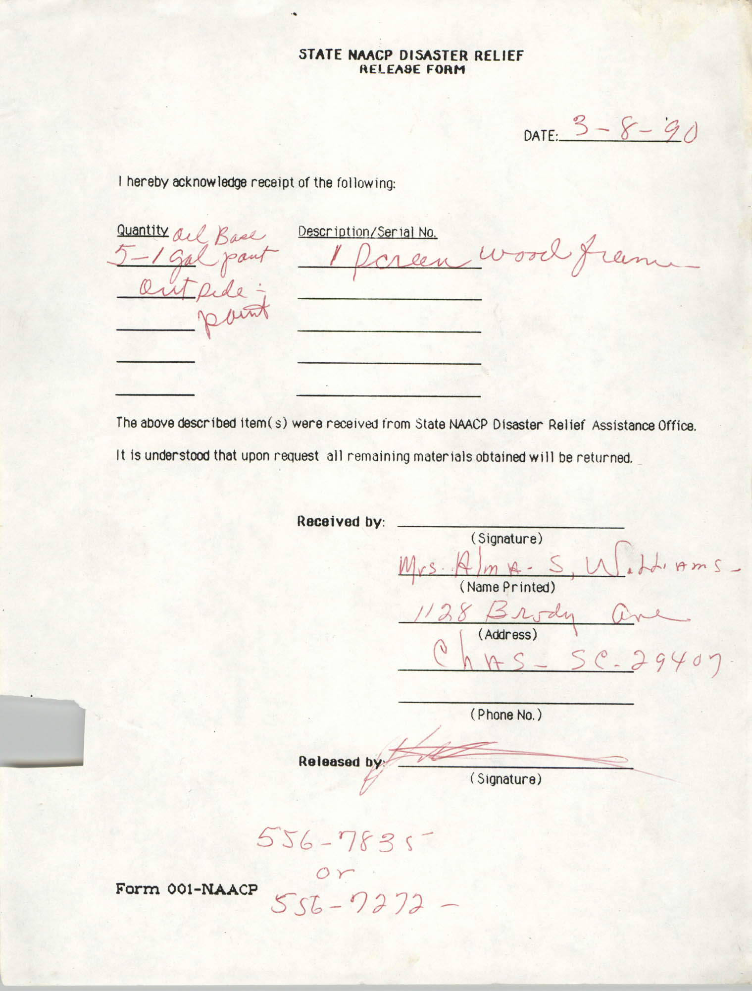 State NAACP Disaster Relief, Hurricane Huge Release Form, 1989, Page 11