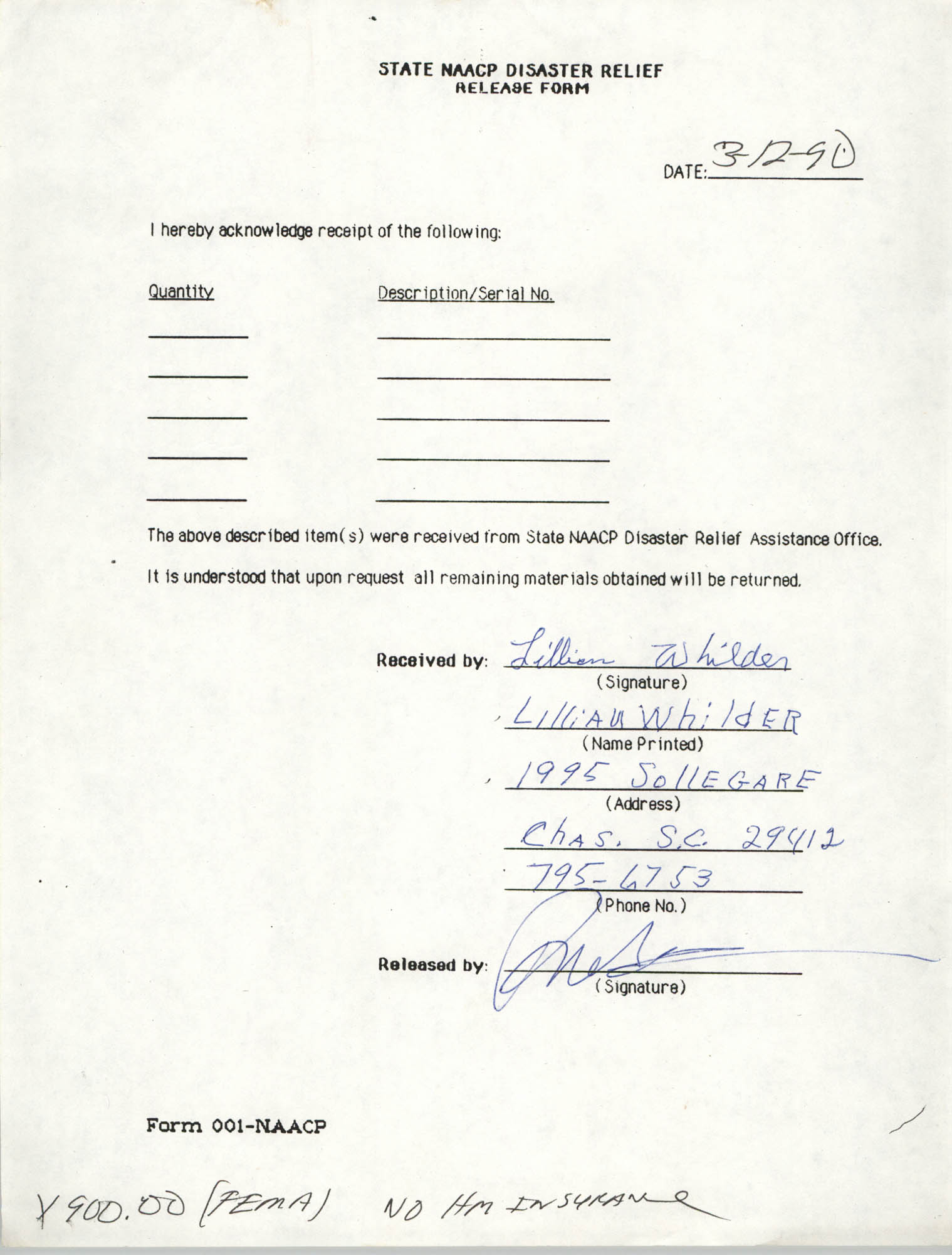 State NAACP Disaster Relief, Hurricane Huge Release Form, 1989, Page 12