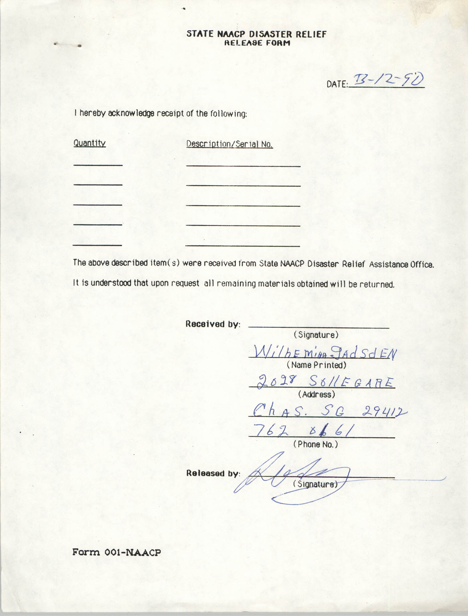 State NAACP Disaster Relief, Hurricane Huge Release Form, 1989, Page 13