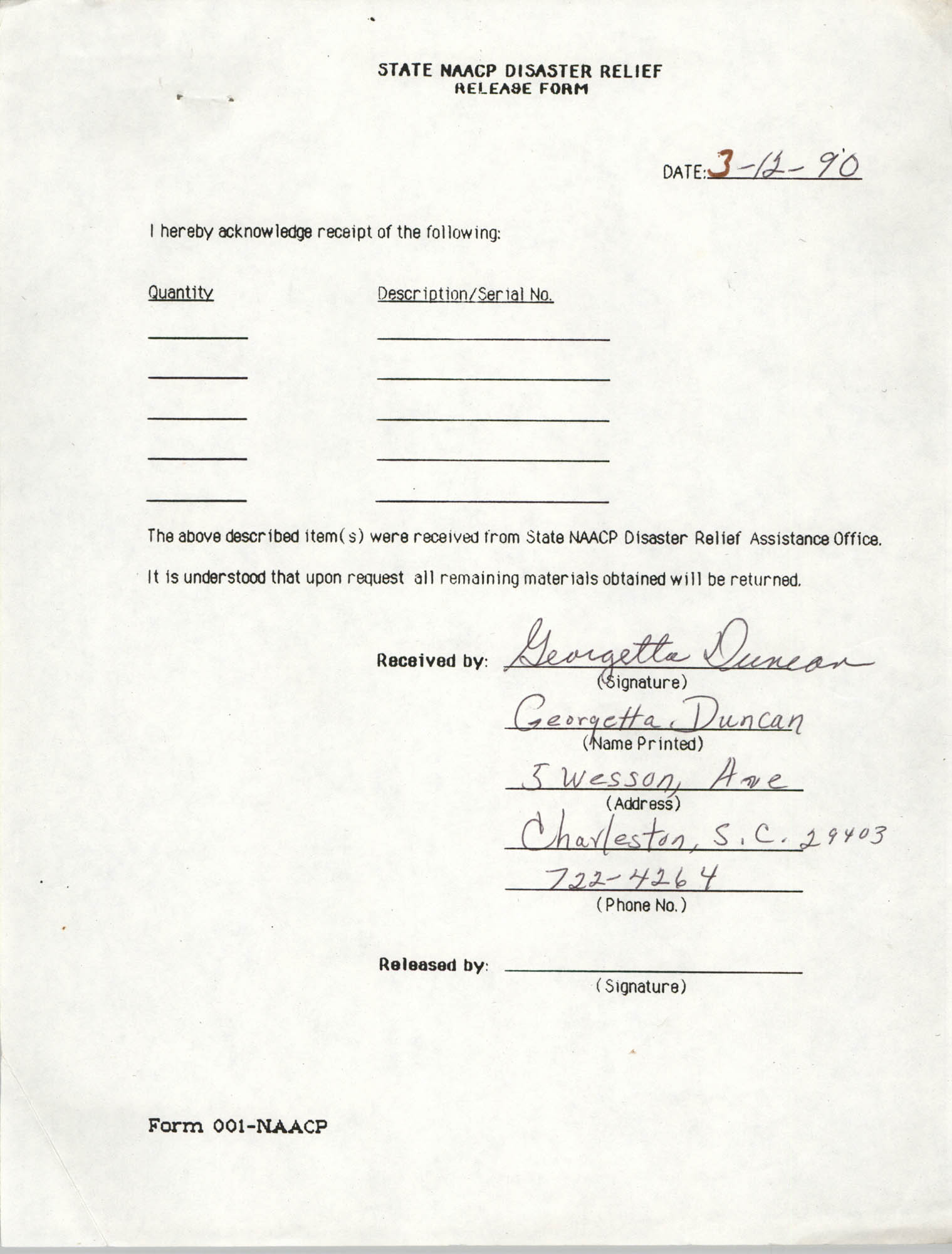 State NAACP Disaster Relief, Hurricane Huge Release Form, 1989, Page 14