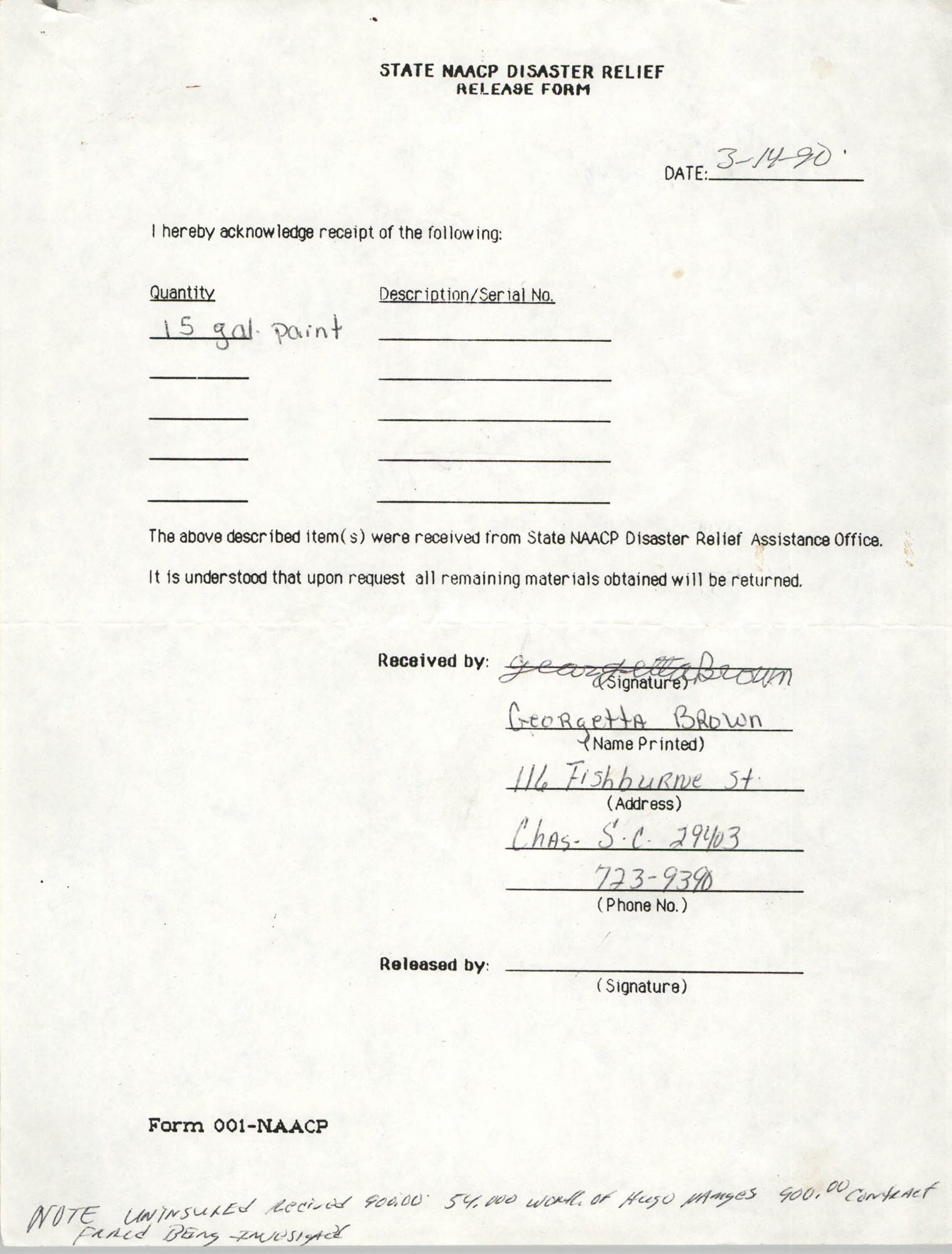 State NAACP Disaster Relief, Hurricane Huge Release Form, 1989, Page 15