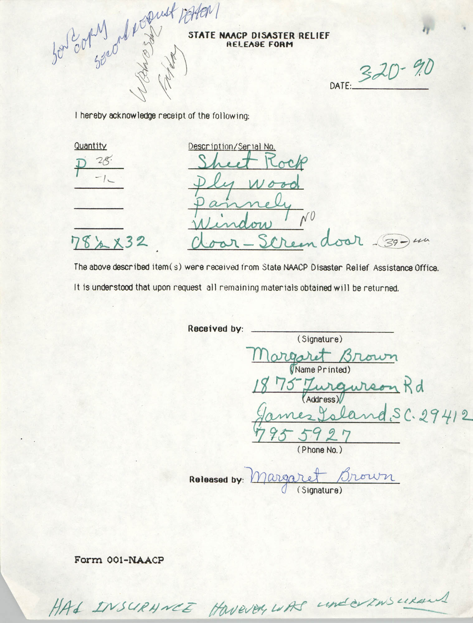 State NAACP Disaster Relief, Hurricane Huge Release Form, 1989, Page 16