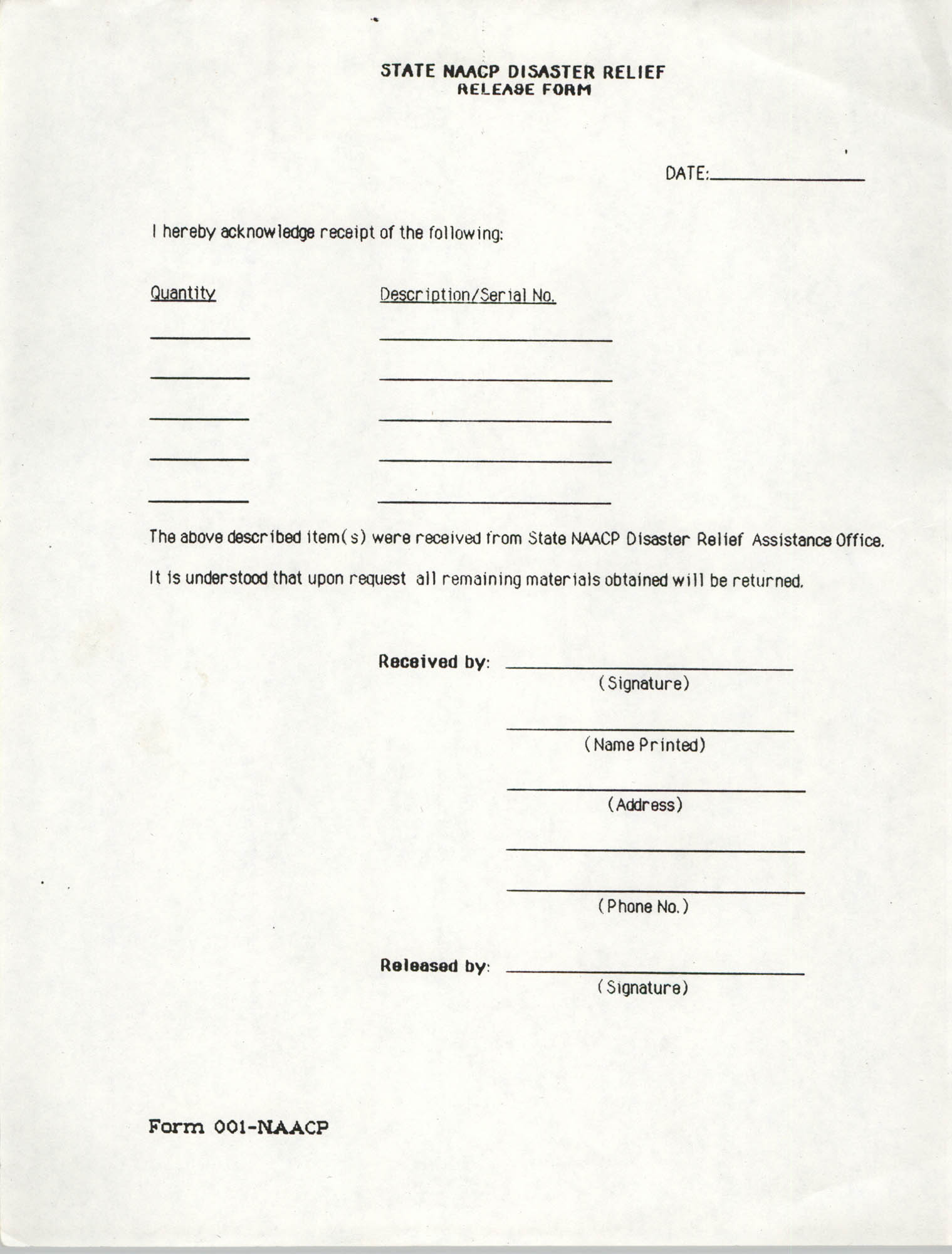 State NAACP Disaster Relief, Hurricane Huge Release Form, 1989, Page 18